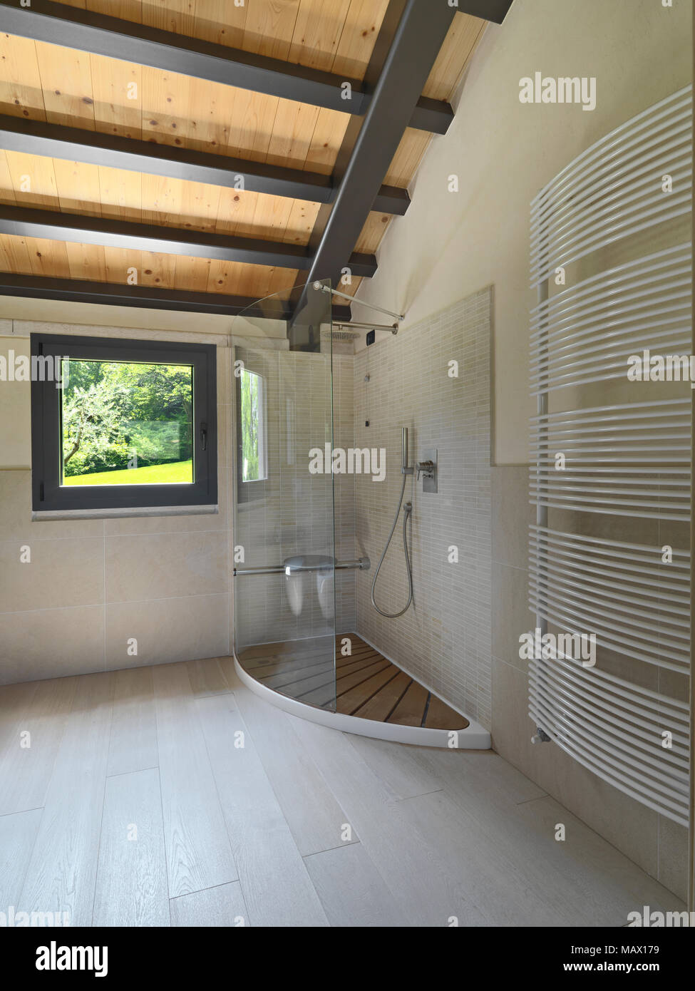 interiors shots of a modern bathroom, in the foreground round counter top washbasin on hte marble top in background the bidet and the toilet bowl the  - Stock Image