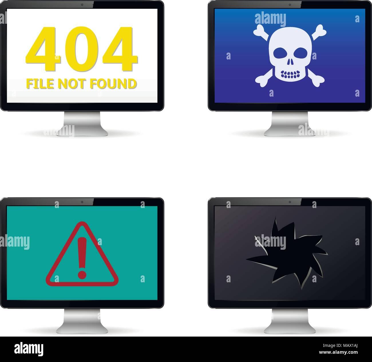 Computer crash, technical failure message on computer screens - Stock Image