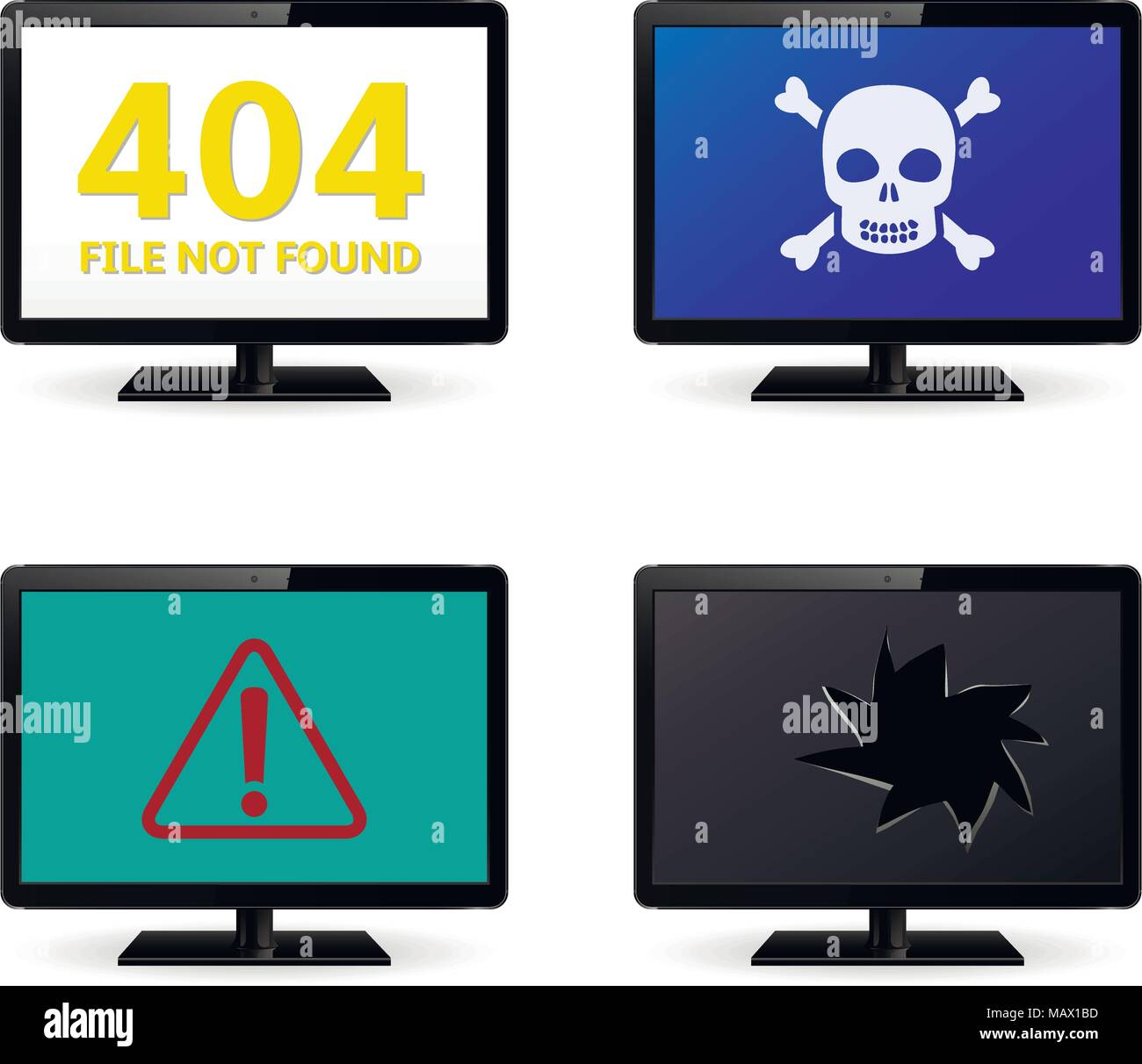 Computer crash, technical failure message on computer monitor screens - Stock Image
