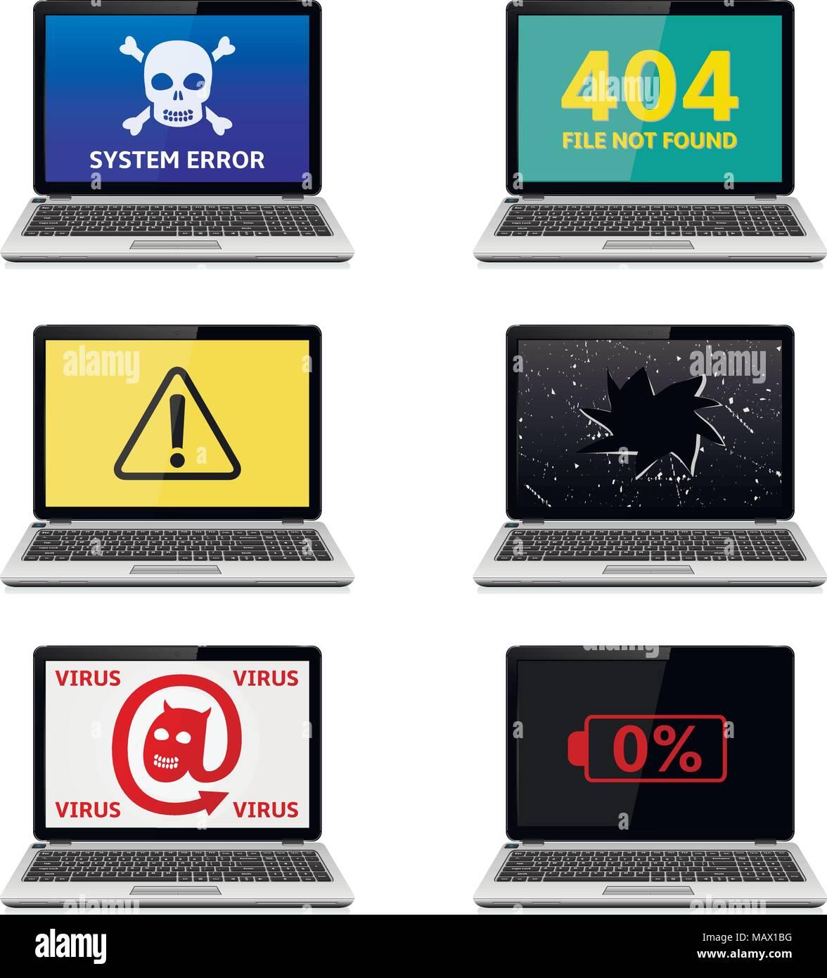 Error Laptops Icons Set - Stock Image