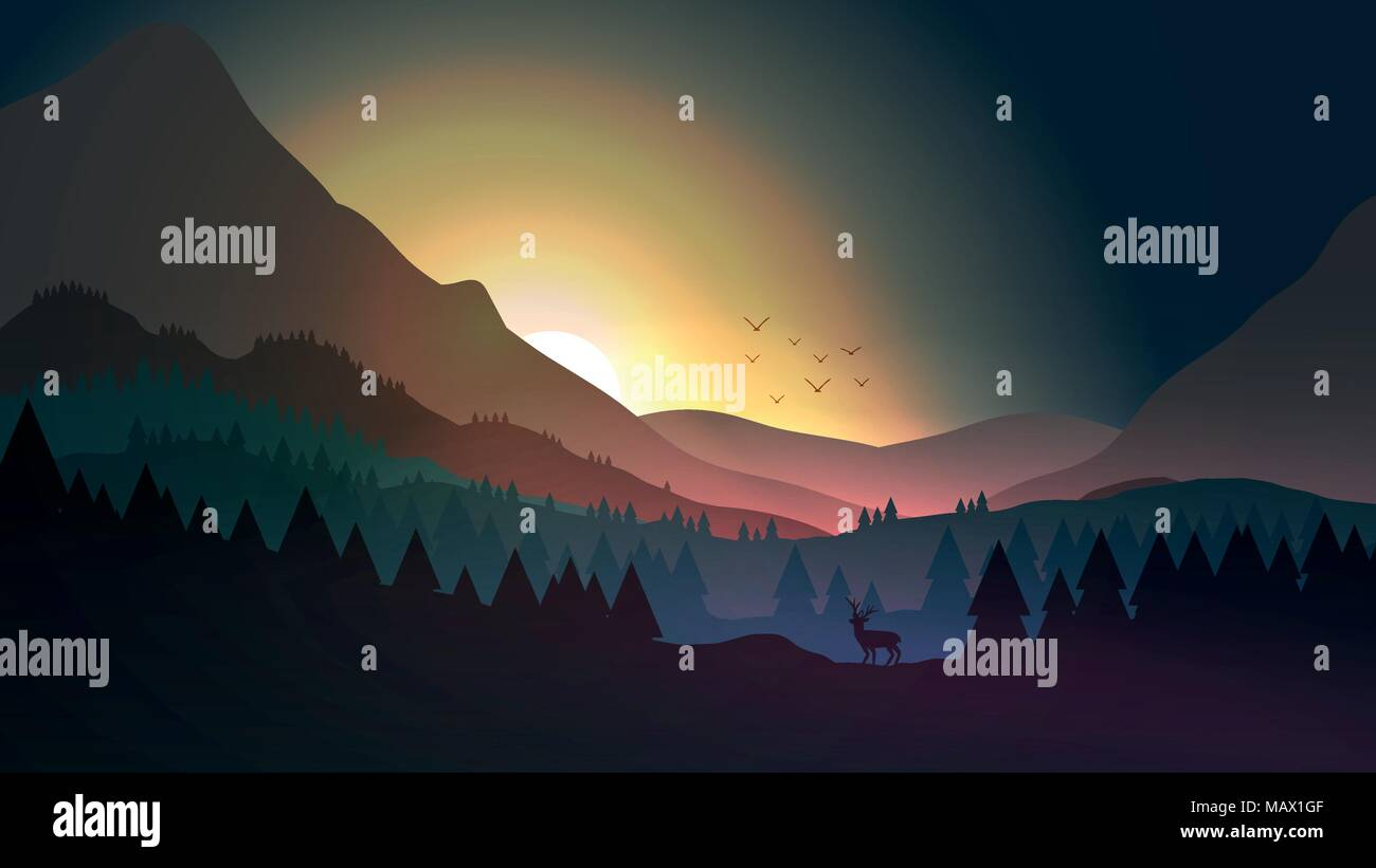 Sunset or Dawn Over Mountains with Stag on Hill Top Pine Forest Landscape - Vector Illustration - Stock Vector