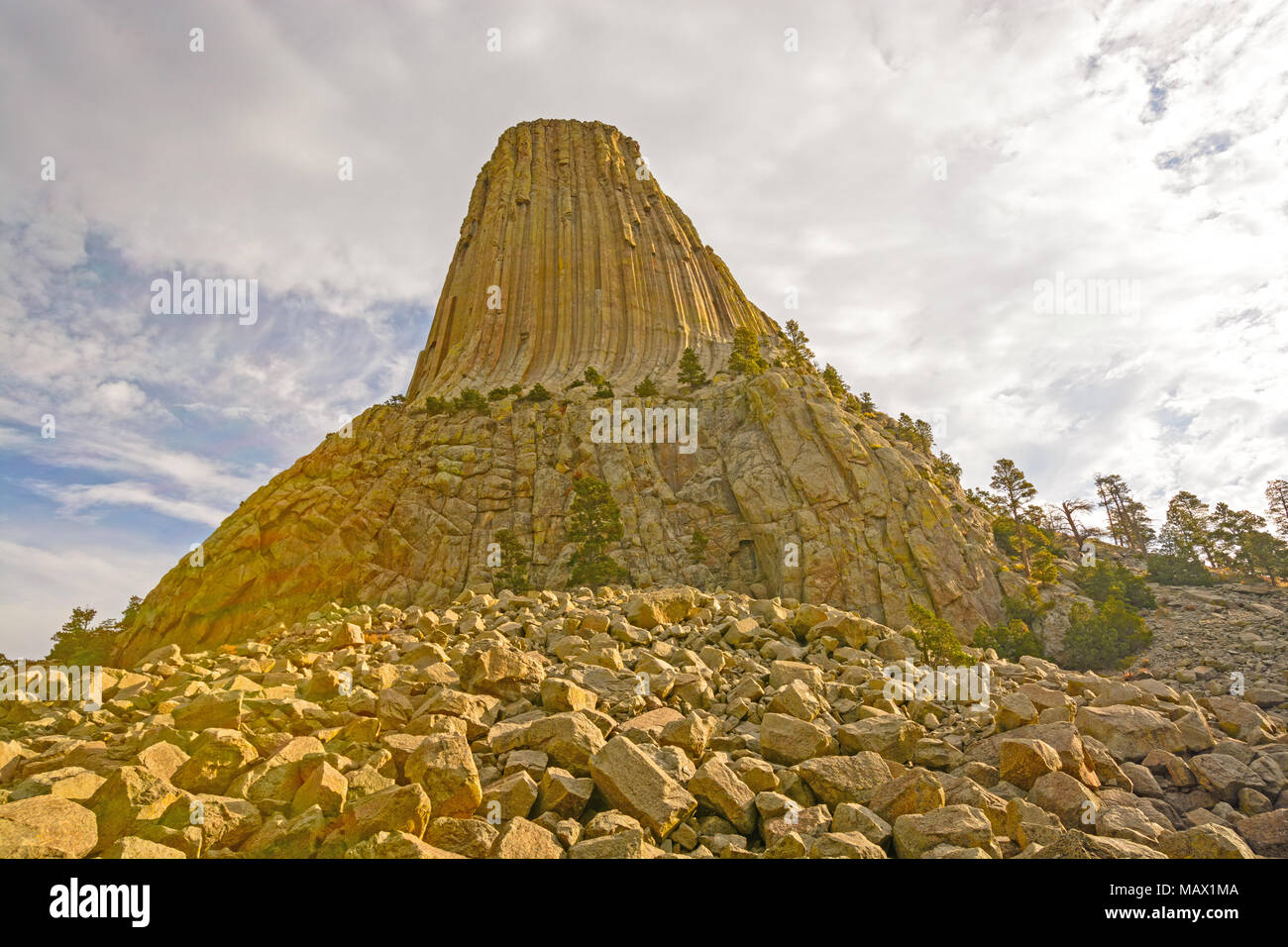 Oblique View of Devils Tower in the Morning in Wyoming - Stock Image