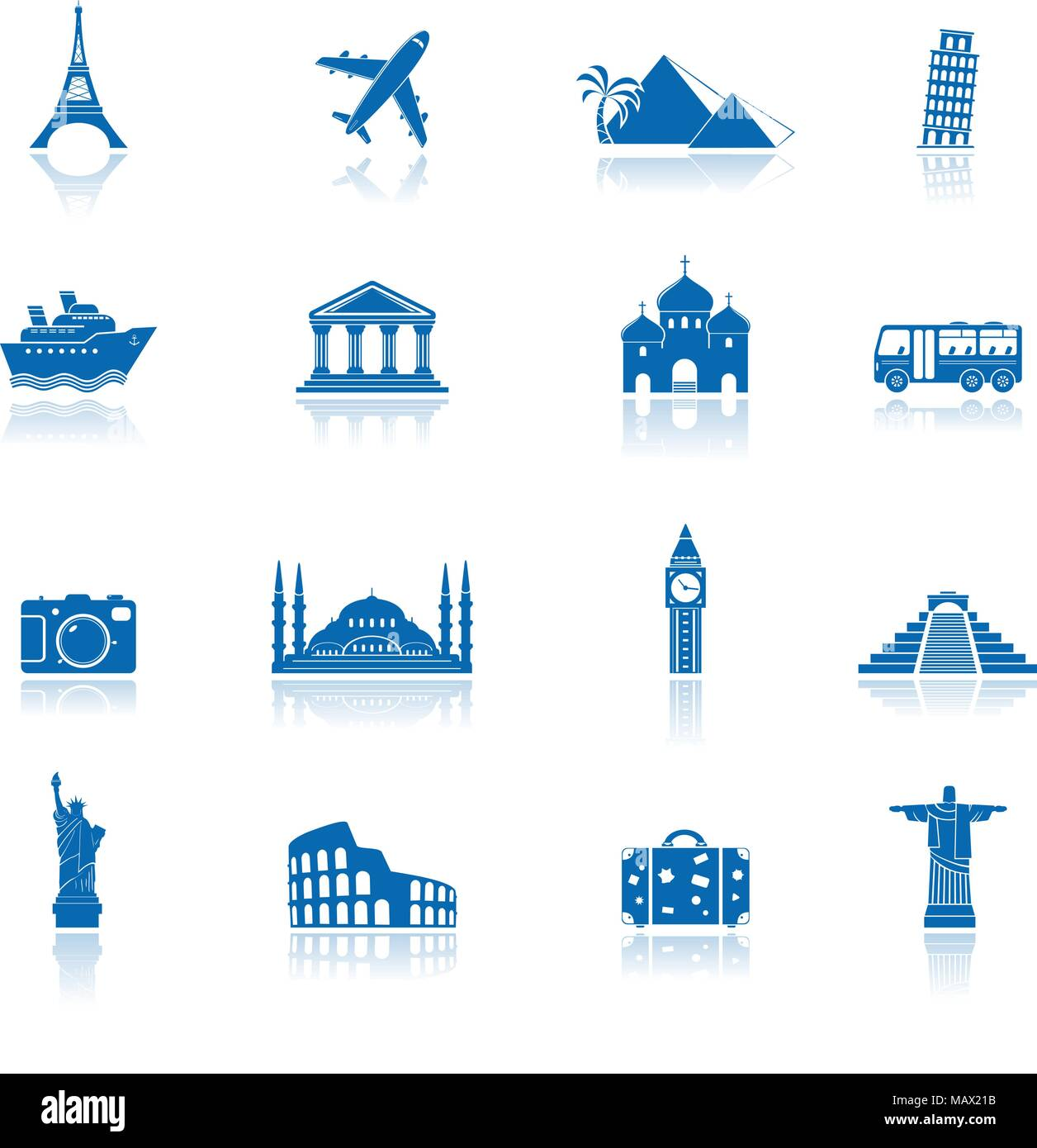 Sights and transportation blue icons with reflection - Stock Image