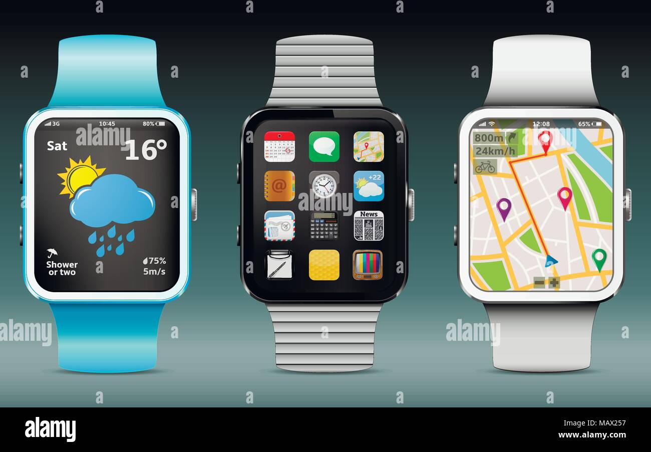 Smart watches with app icons, weather and GPS navigation