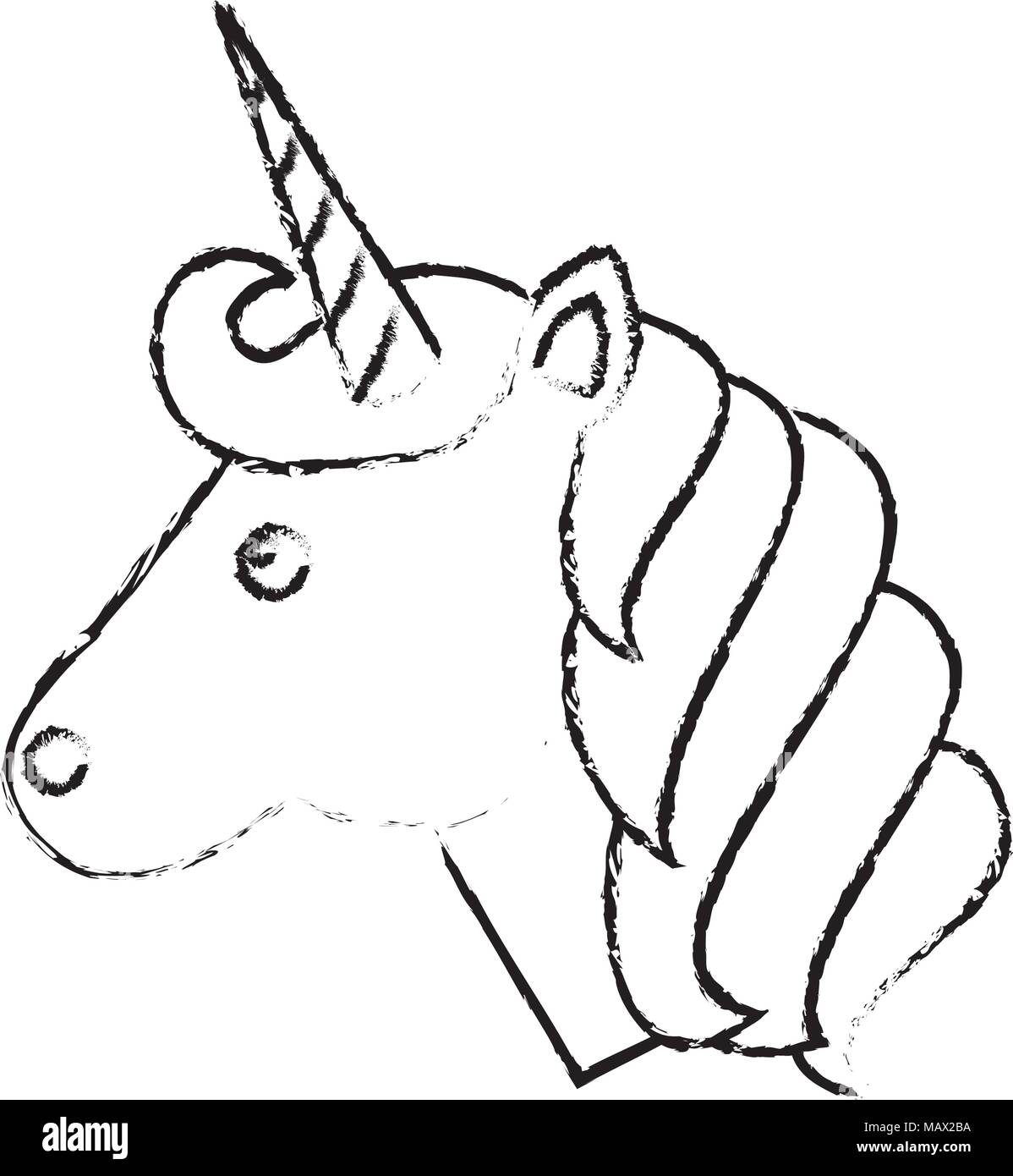 Cute animal magic unicorn horn stock image