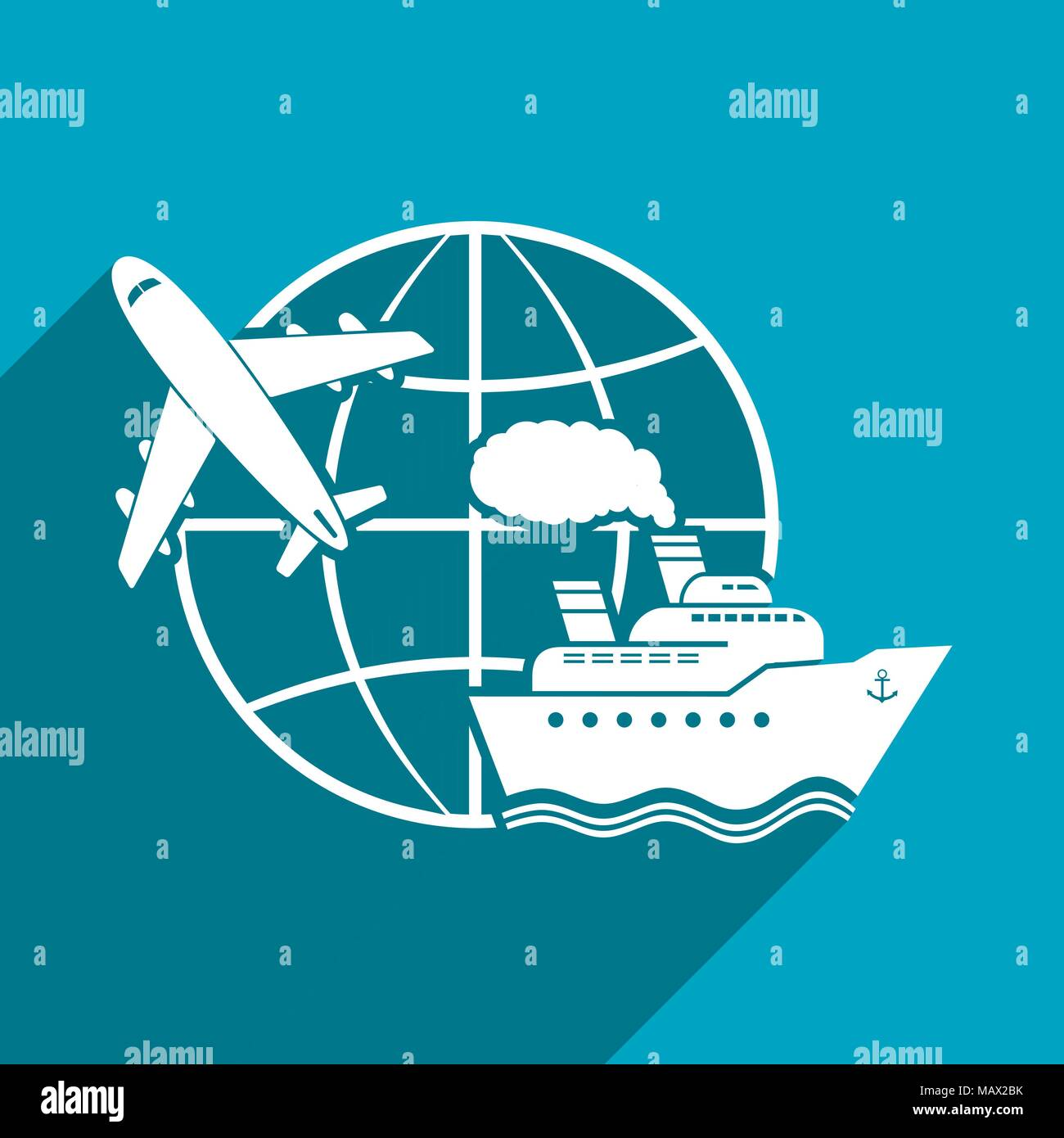 Around the world, flat vector illustration with long shadow Stock Vector
