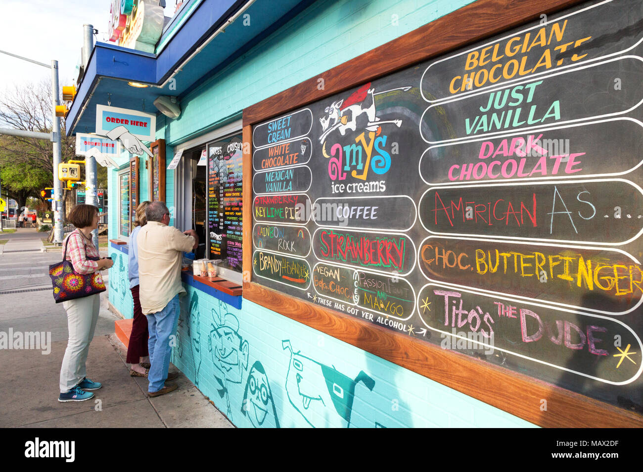 Ice cream USA - ice cream flavours on the board outside Amy's Ice Creams, South Congress Avenue, downtown Austin, Texas USA - Stock Image