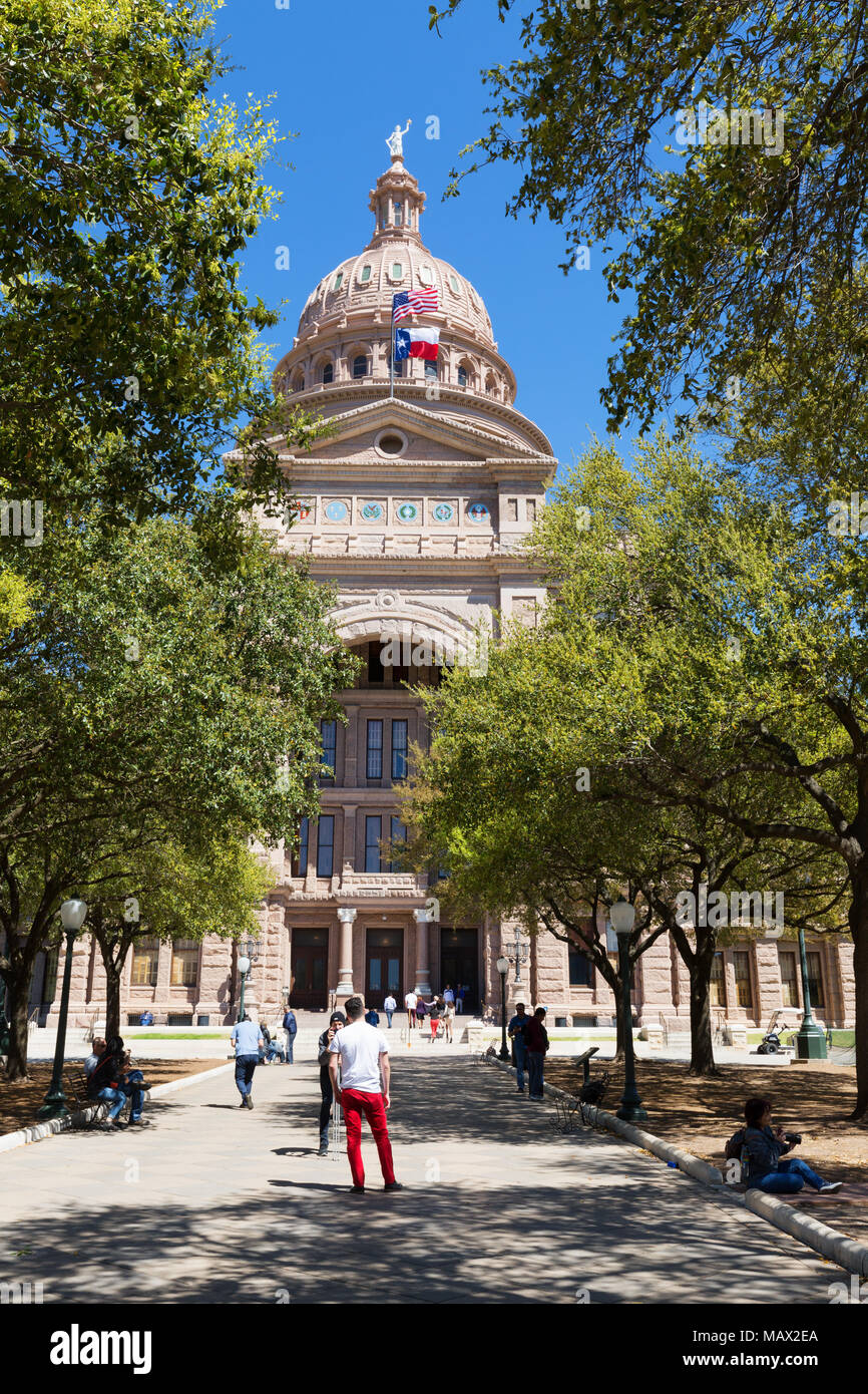 Texas State Capitol building on a sunny spring day, Austin Texas, United States of America - Stock Image