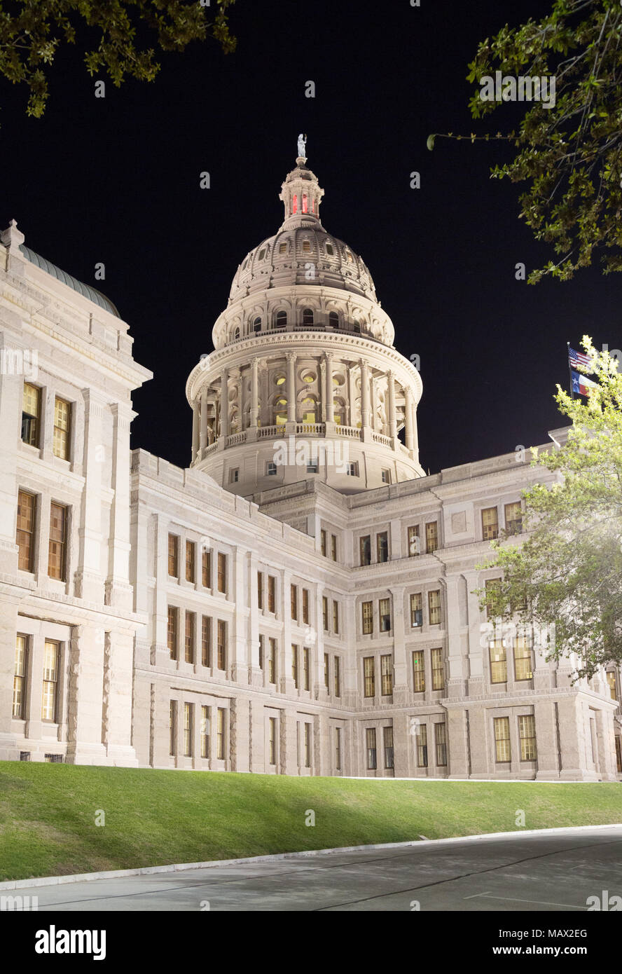 Texas State Capitol Building Lit Up At Night, Austin Texas, United States  Of America