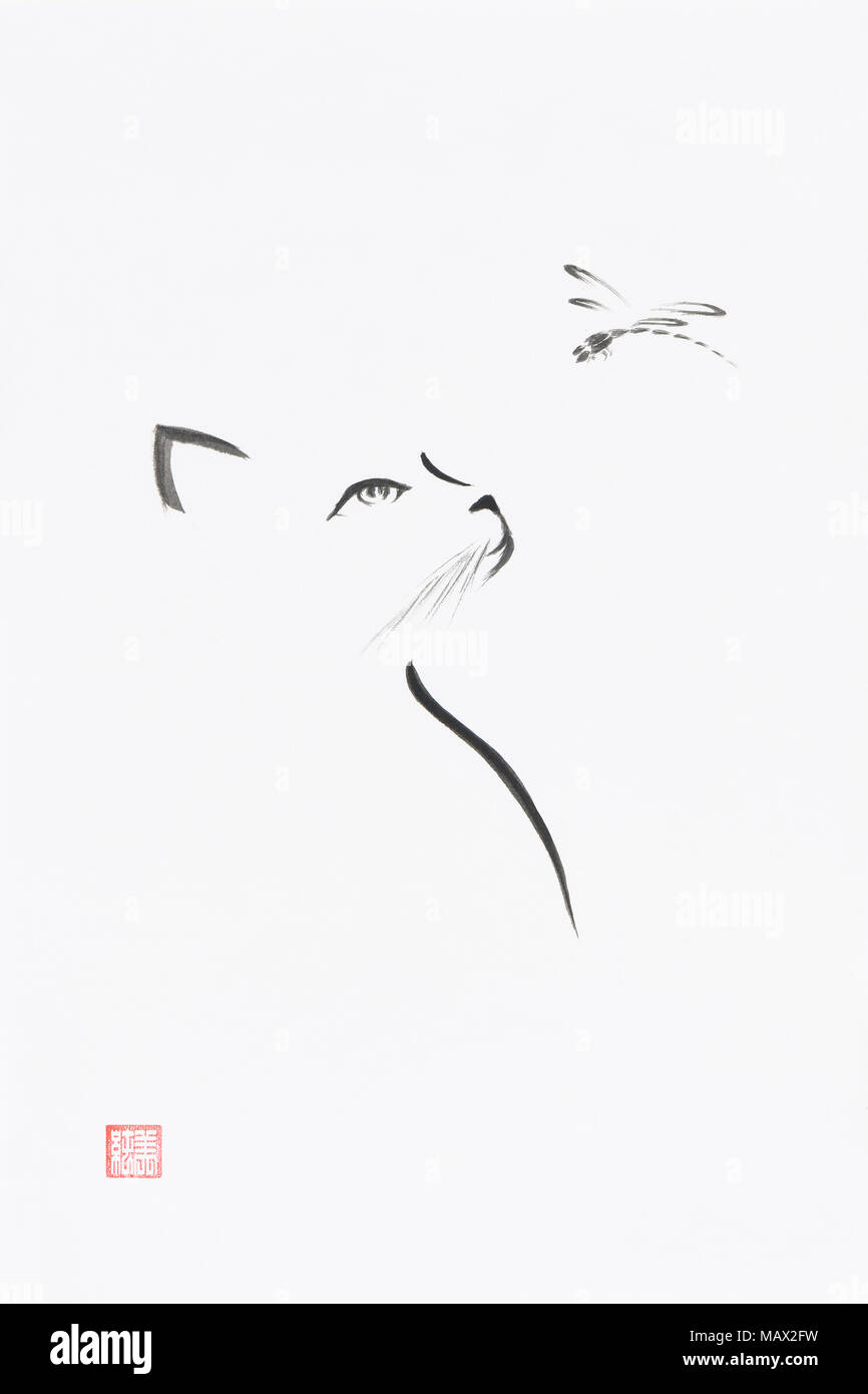 Cat Looking Up At The Dragonfly Artistic Oriental Style Illustration Cute Minimalistic Japanese Zen Sumi E Ink Painting On White Rice Paper Backgroun