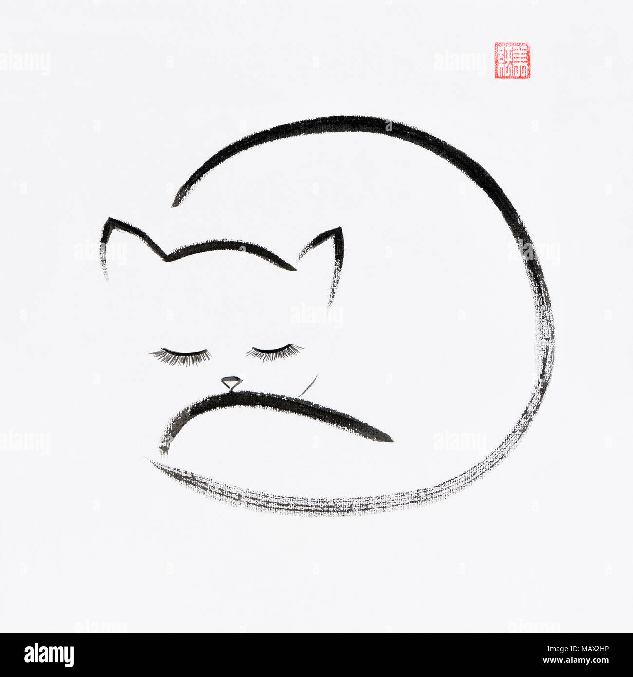 Cute snuggly sleeping cat artistic oriental style illustration, Japanese Zen Sumi-e ink painting on white rice paper background - Stock Image