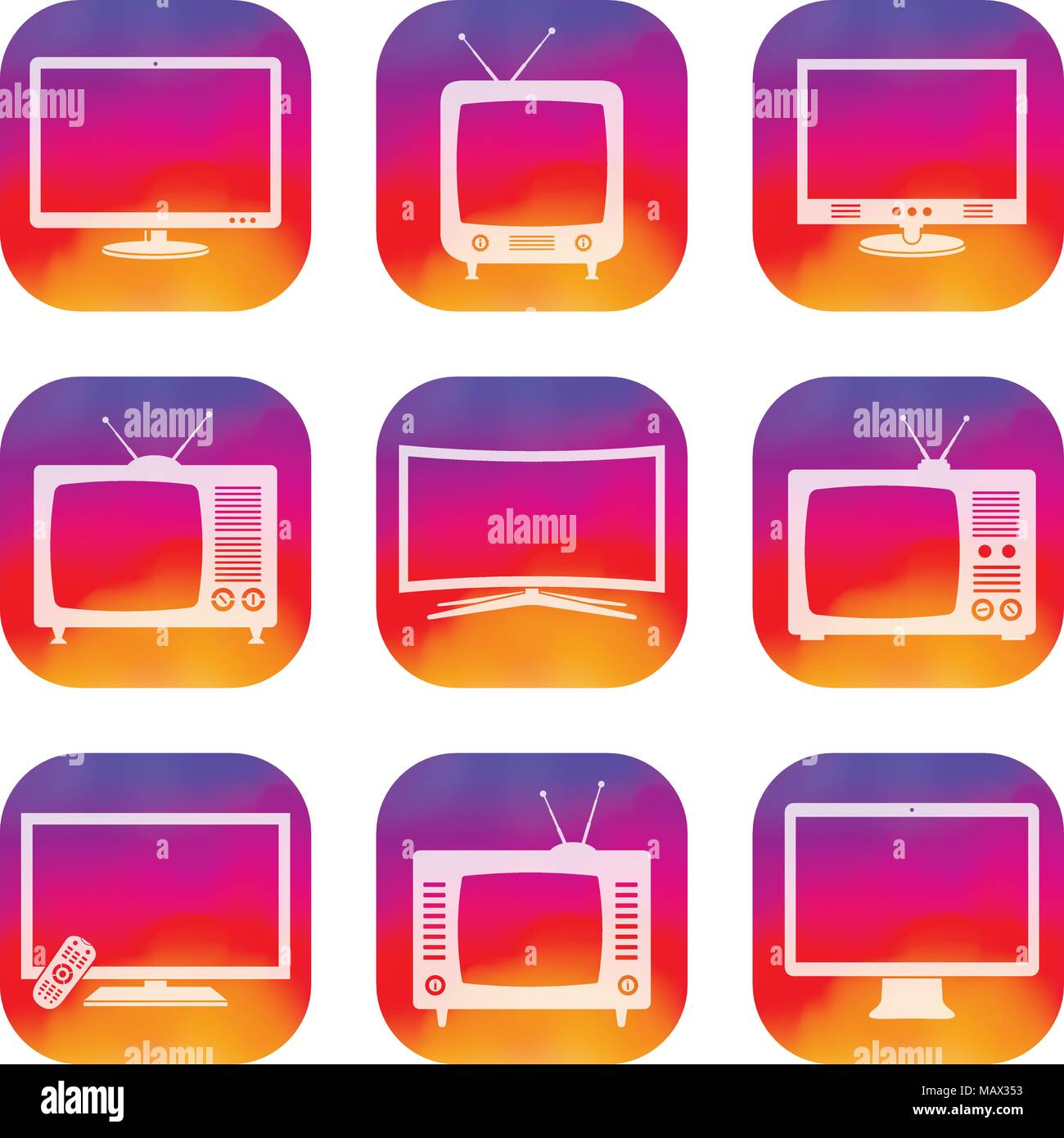Vector TV apps icons set - Stock Image