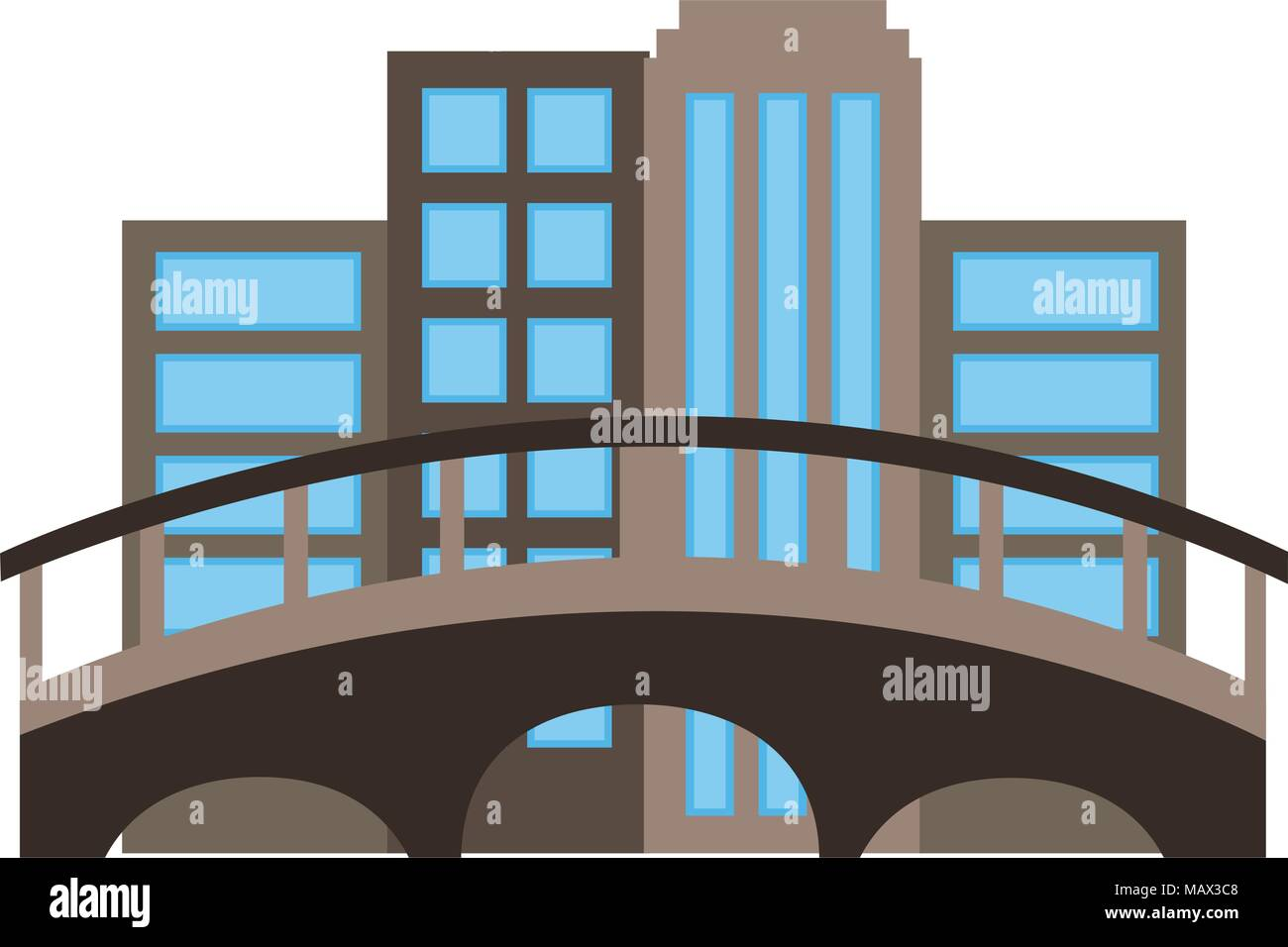 cityscape with bridge scene - Stock Vector