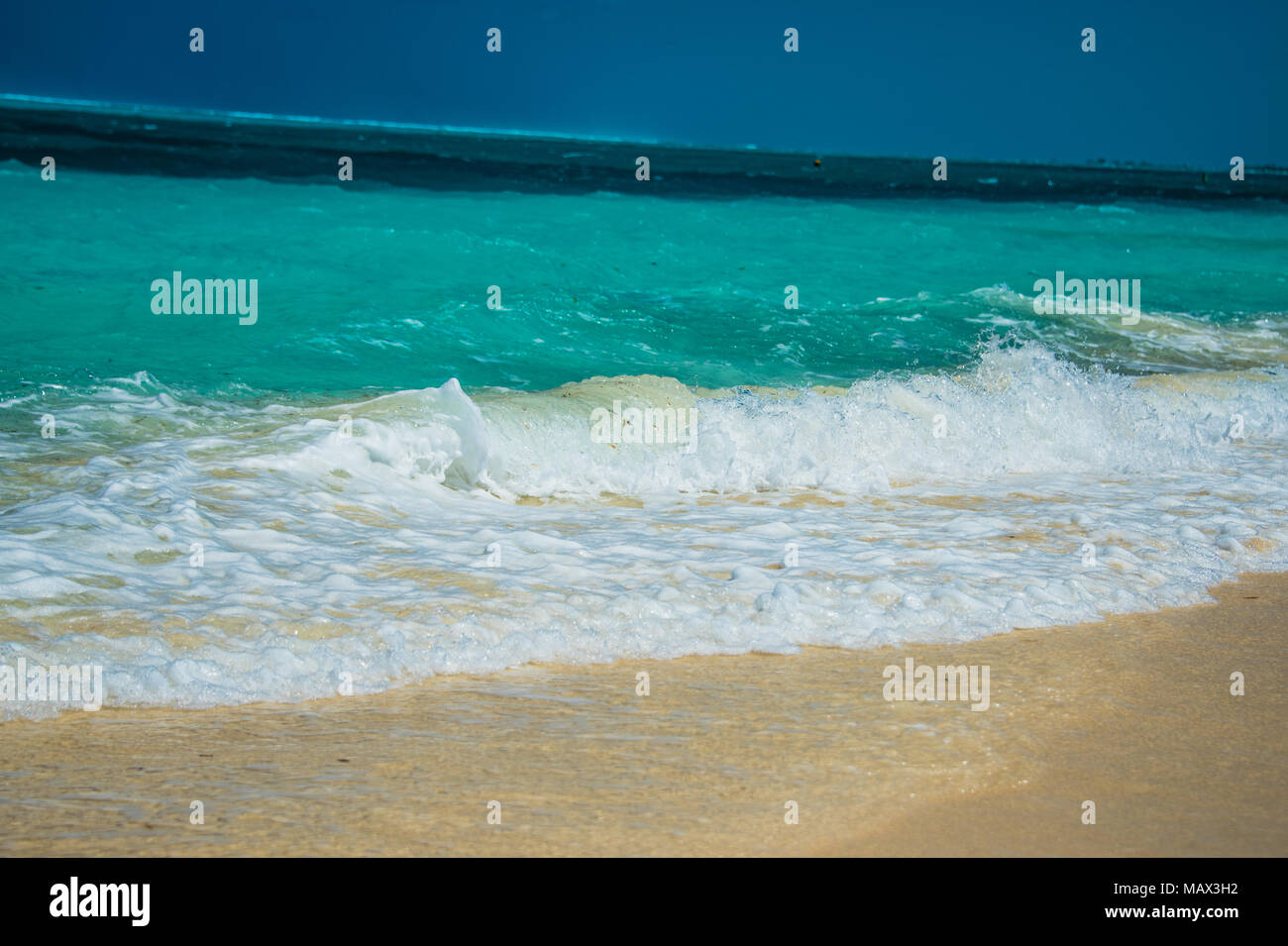 Gentle surf lapping at golden sand on an idyllic tropical beach in the Turks and Caicos Islands, Caribbean, North America - Stock Image