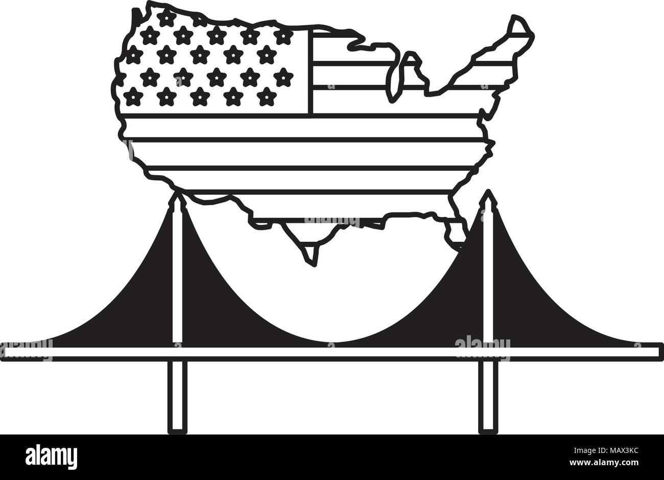 american flag on map and bridge landmark - Stock Image