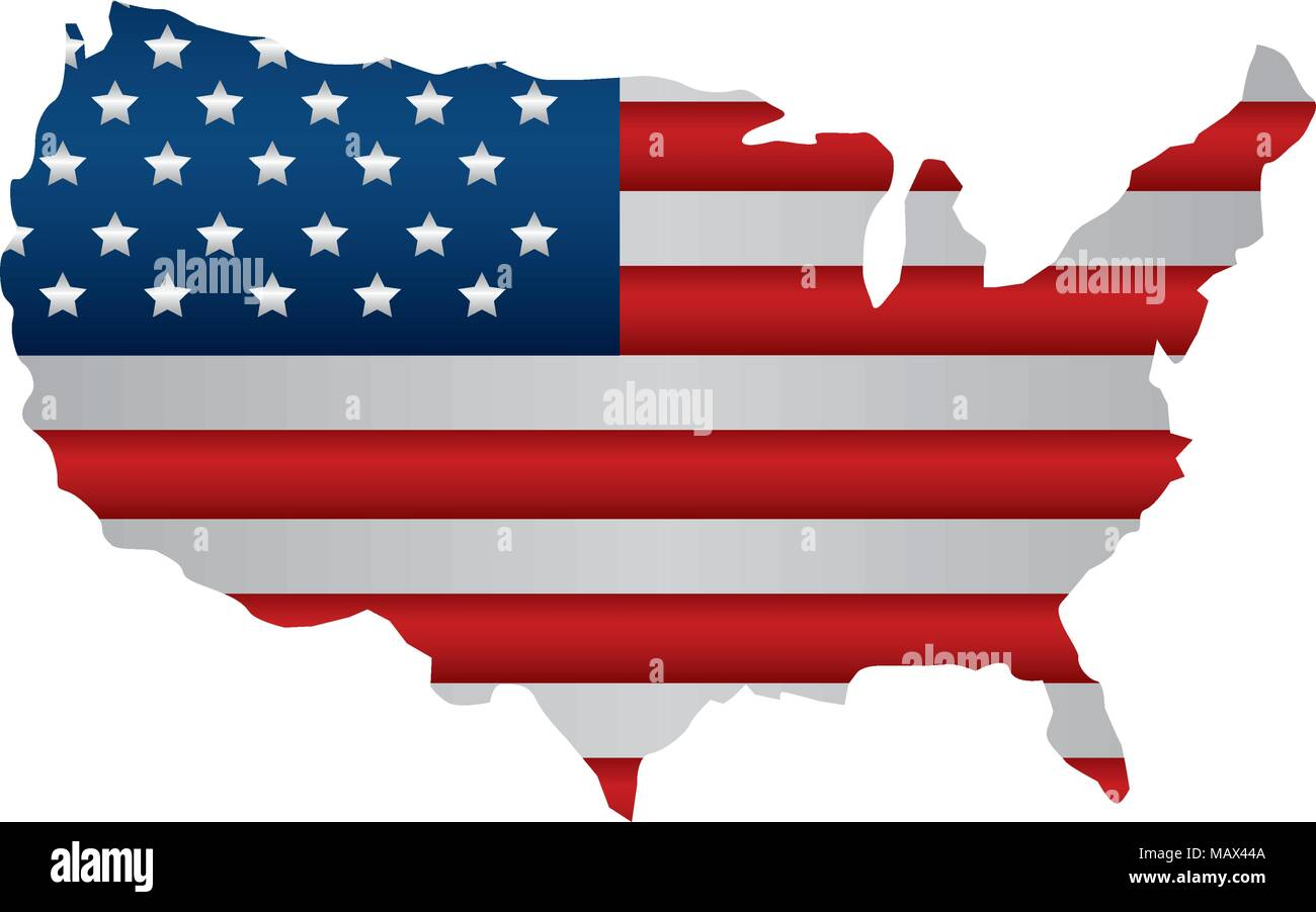 united states of america map with flag Stock Vector Art ...