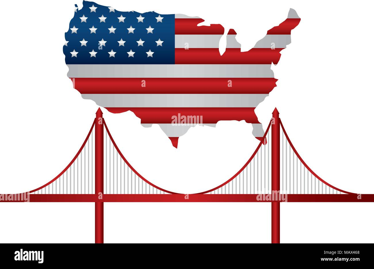 united states of america map with flag and san francisc bridge Stock ...