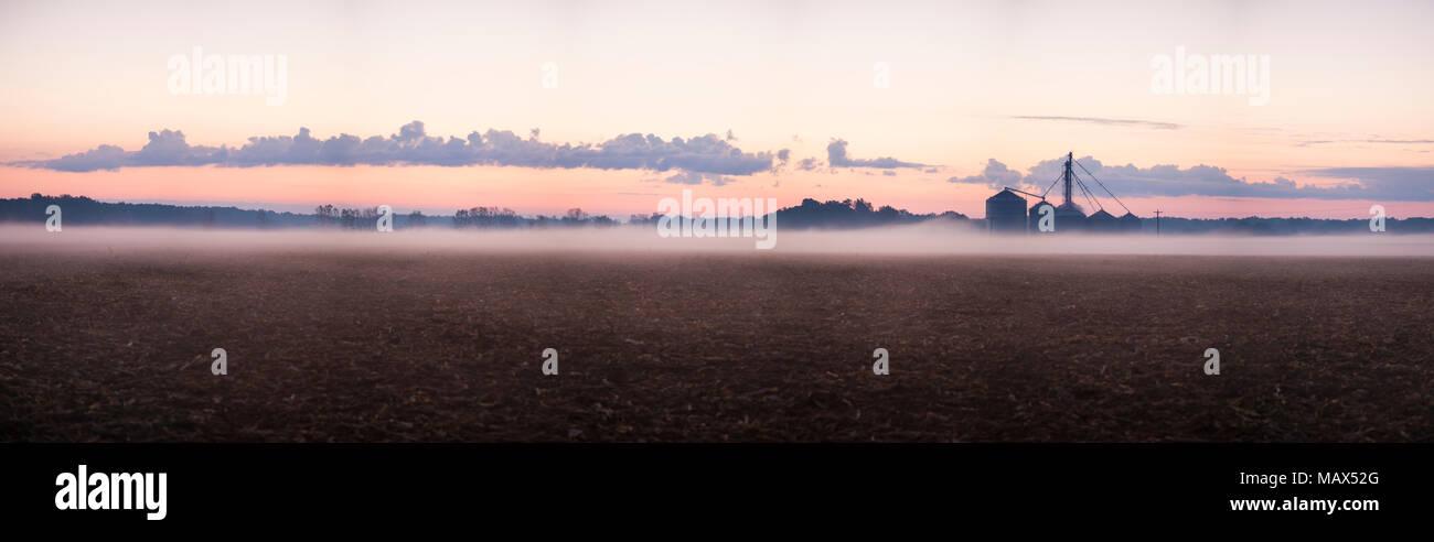 63801-06901 Sunrise and fog on Illinois farm, Marion Co. IL - Stock Image