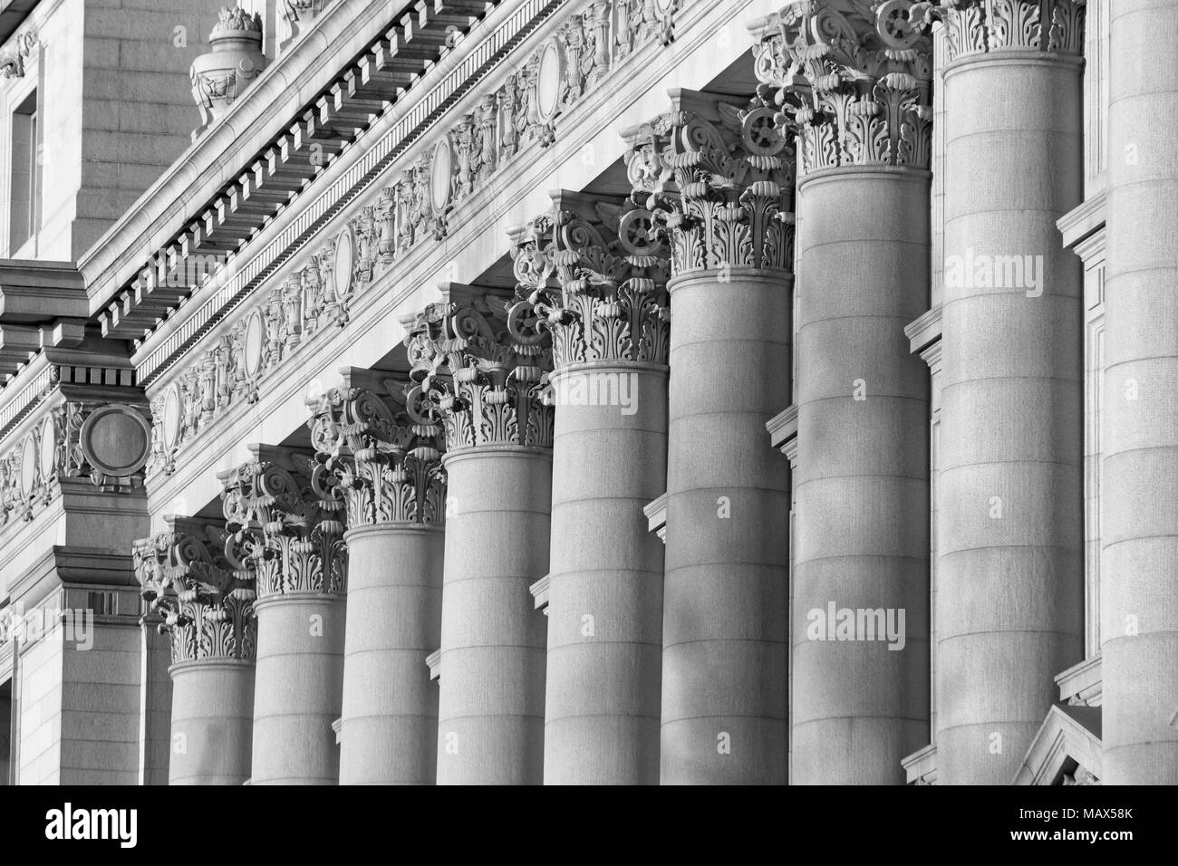 A series of Corinthian Columns shot at sunset in Black & White, this was taken in lower Manhattan at the old customs house Stock Photo