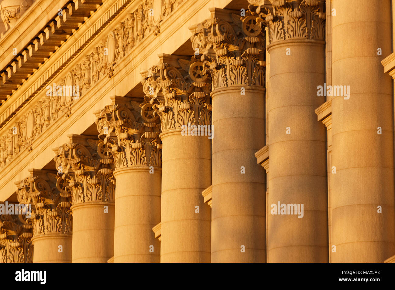 A series of Corinthian Columns shot at sunset, this was taken in lower Manhattan at the old customs house - Stock Image