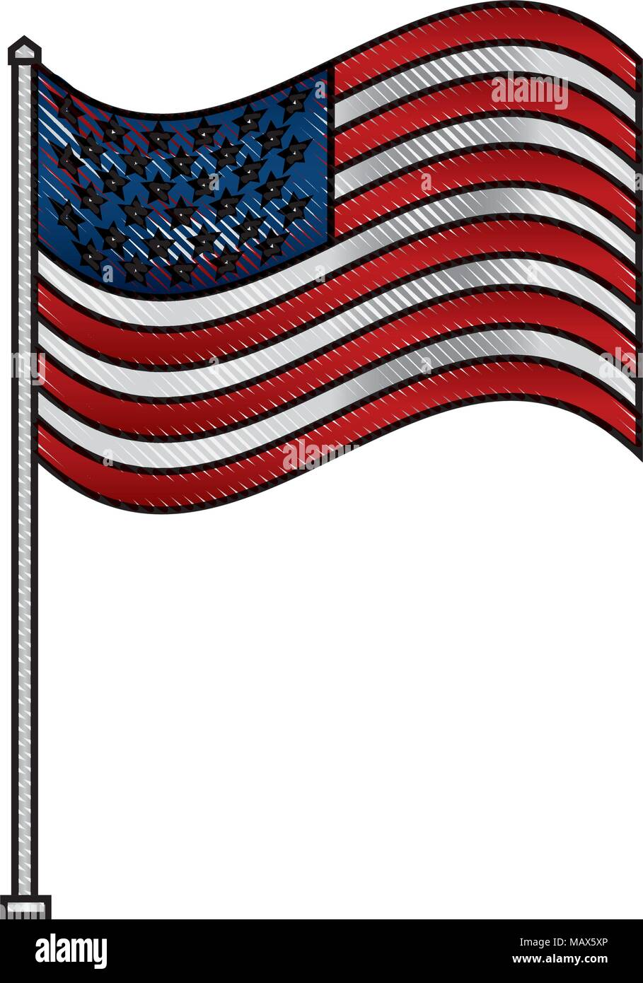 unites state of america waving on flagpole - Stock Vector