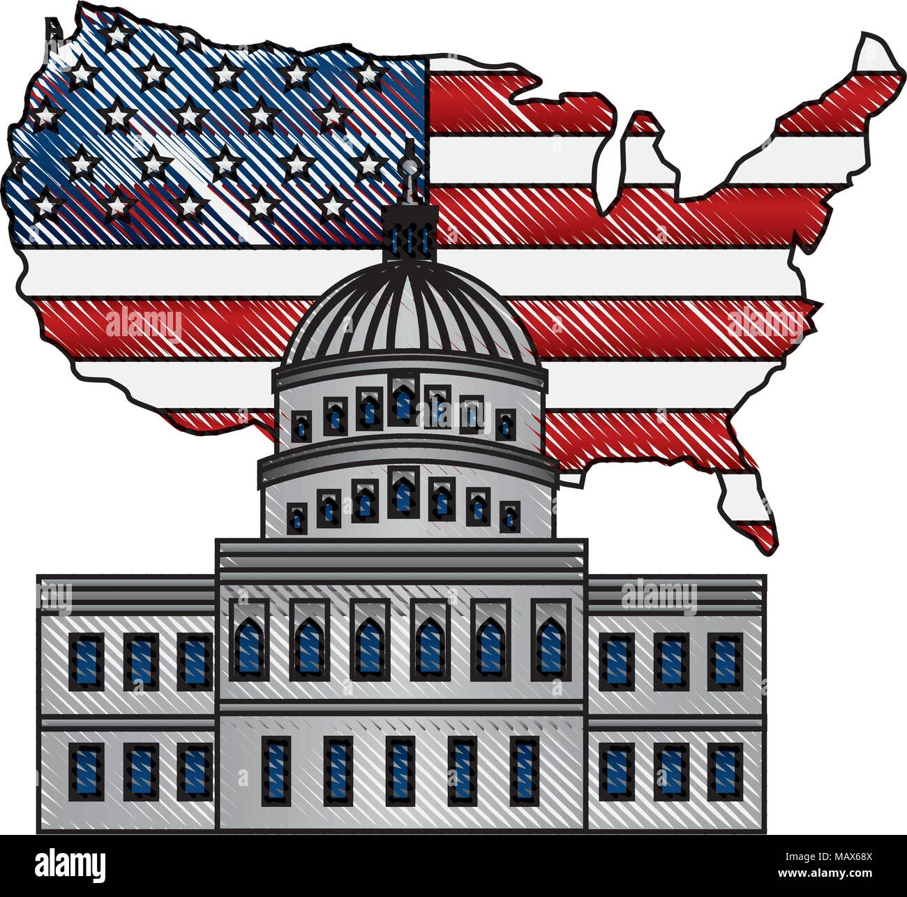 United States Capitol Building In Washington Flag On Map Stock - Map-of-the-us-capitol-building