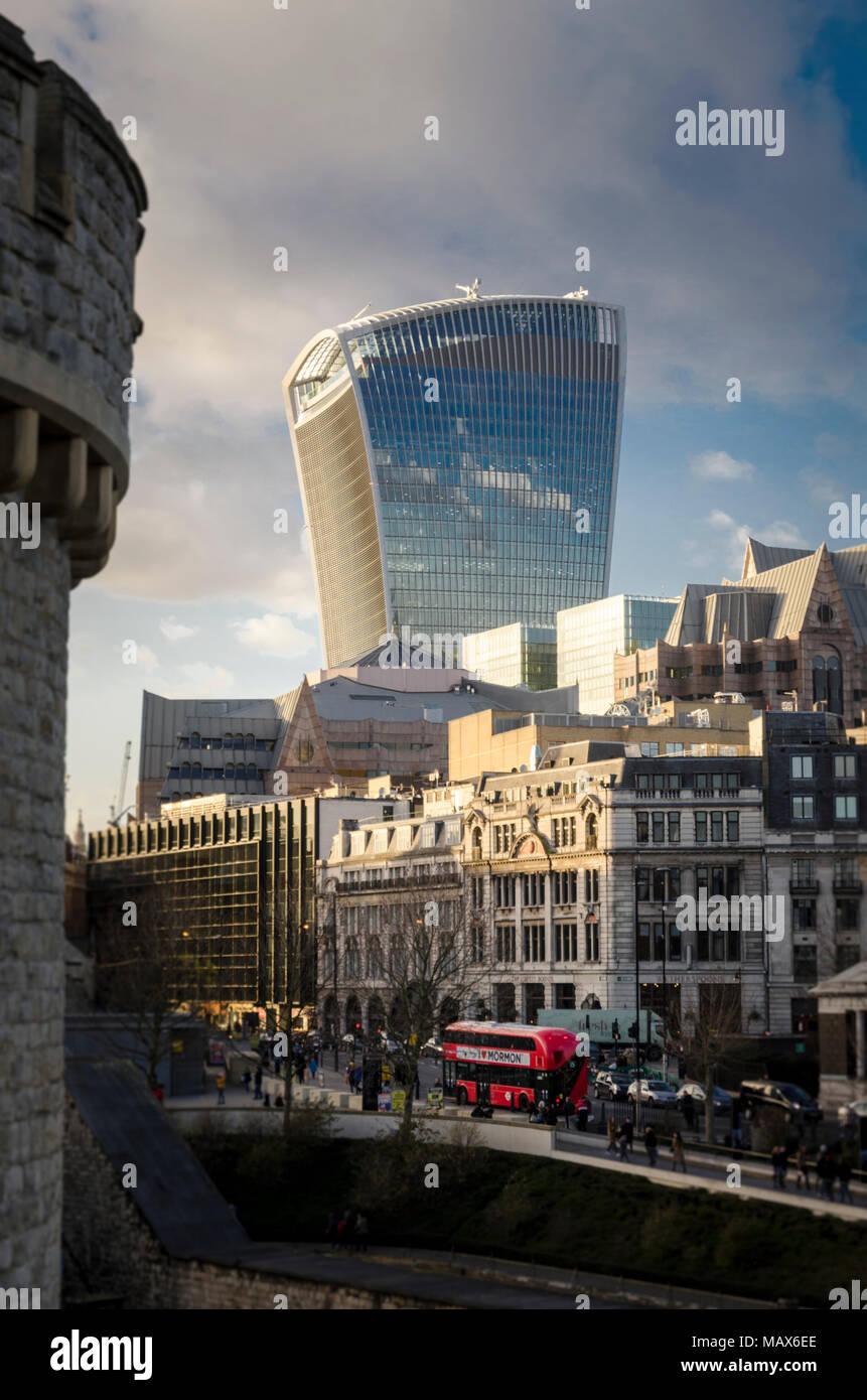 Walkie-talkie building (20 Fenchurch Street) in London City - Stock Image