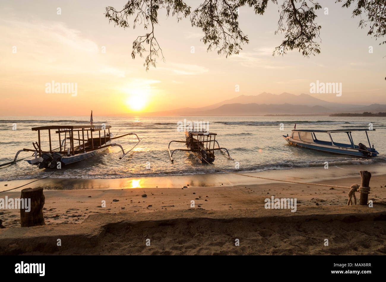 Gili Air sea at sunrise. Sunrise over the sea - Stock Image