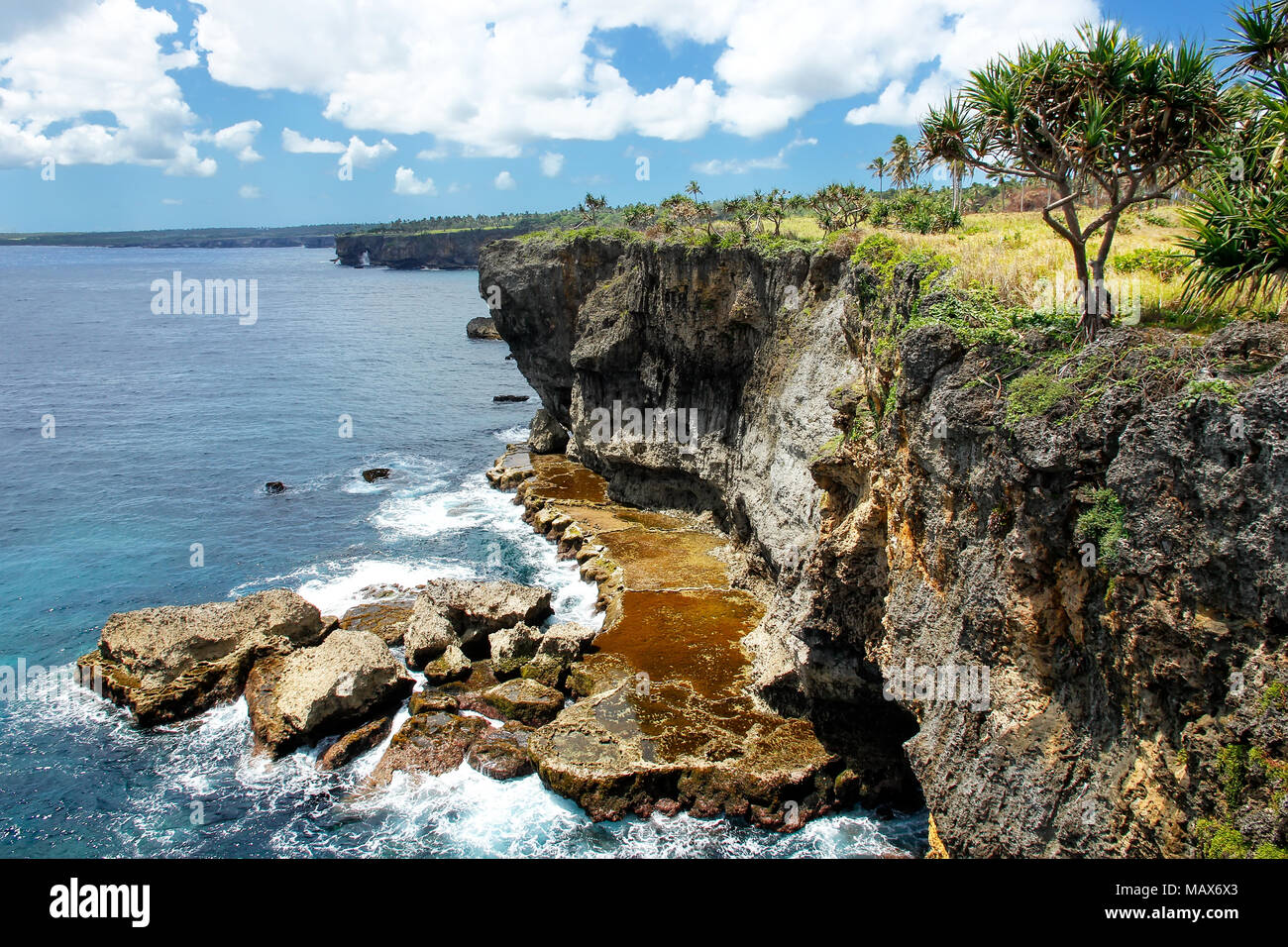 Cliffs on the southern shore of Tongatapu island in Tonga. Tongatapu is the main island of the Kingdom of Tonga. - Stock Image