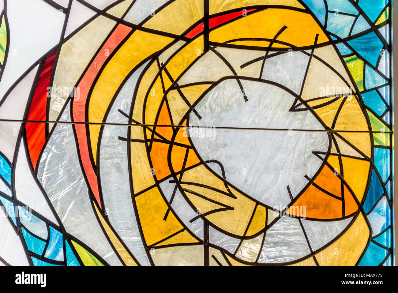 Colorful Abstract Design Of A Modern Stained Glass Window In A Close
