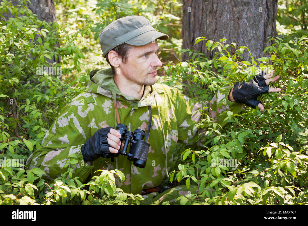 Conducted covert surveillance in the forest reserve - Stock Image