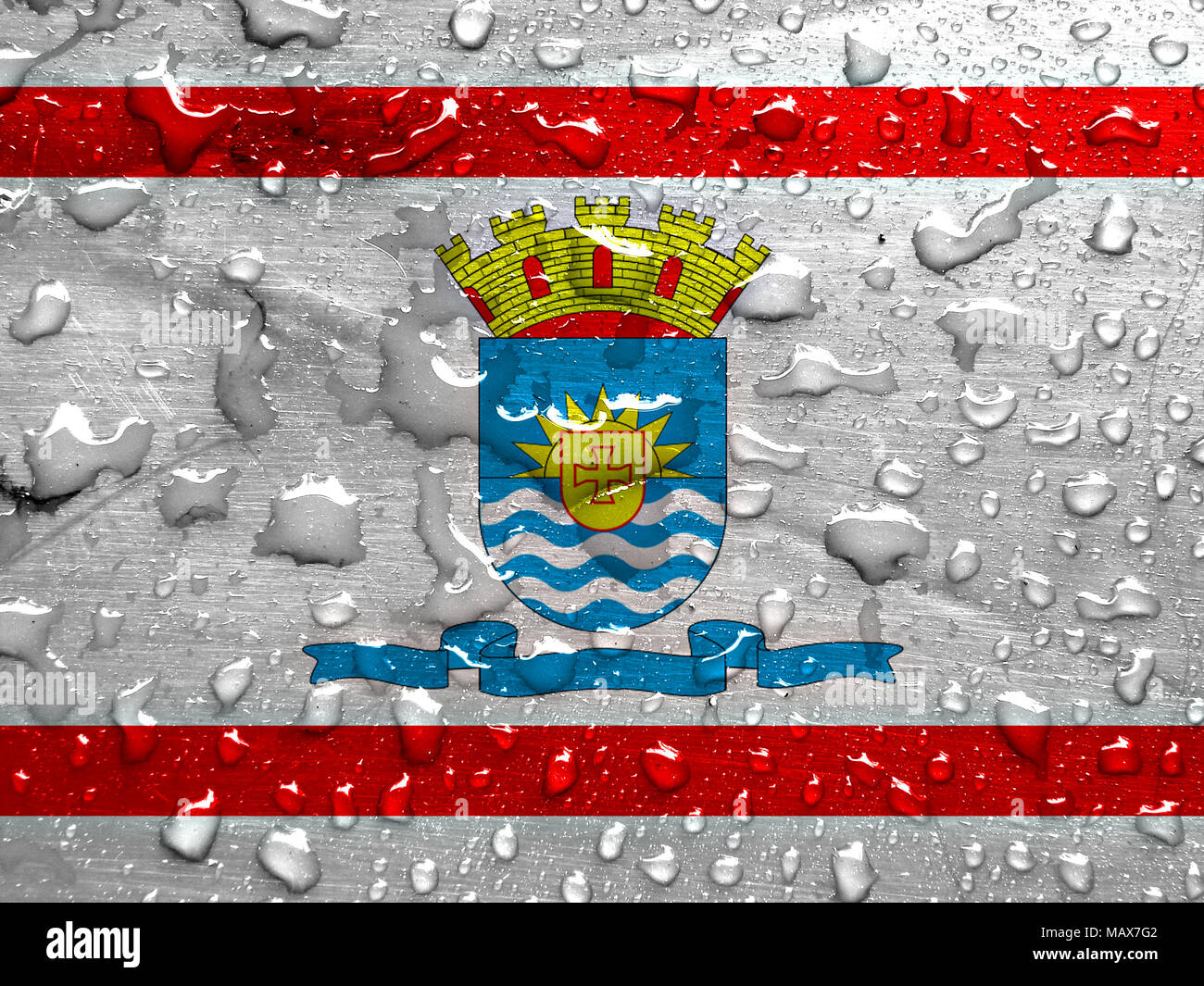 flag of Florianopolis with rain drops - Stock Image