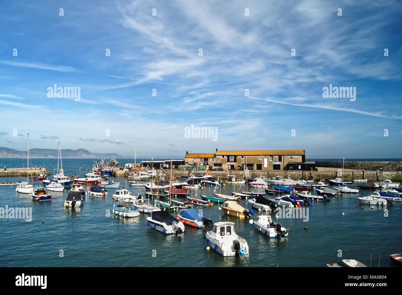 UK,Dorset,Lyme Regis,The Harbour and Aquarium with Jurassic Coast in the distance. - Stock Image