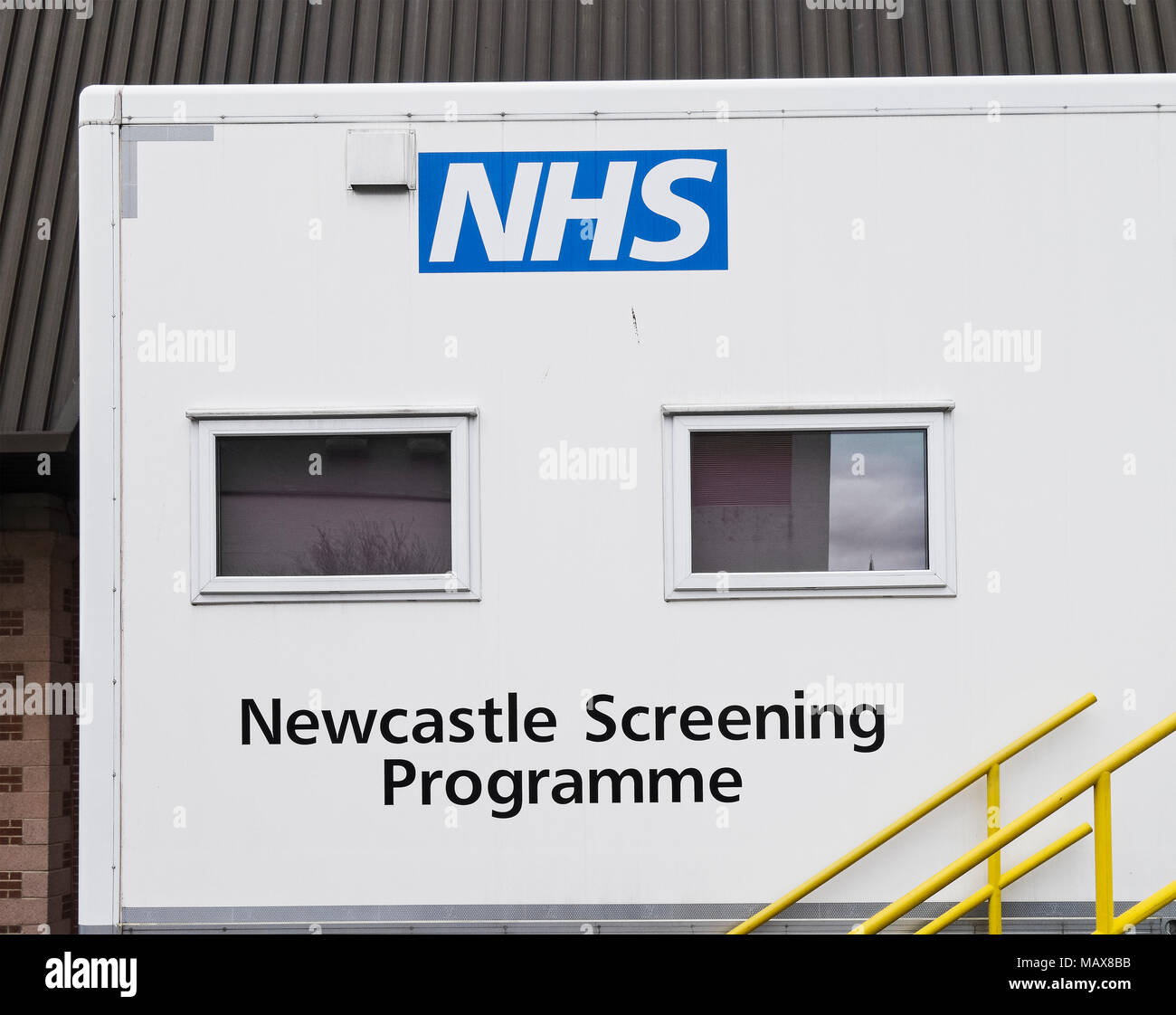 Mobile National Health Service (NHS) screening programme trailer, UK - Stock Image