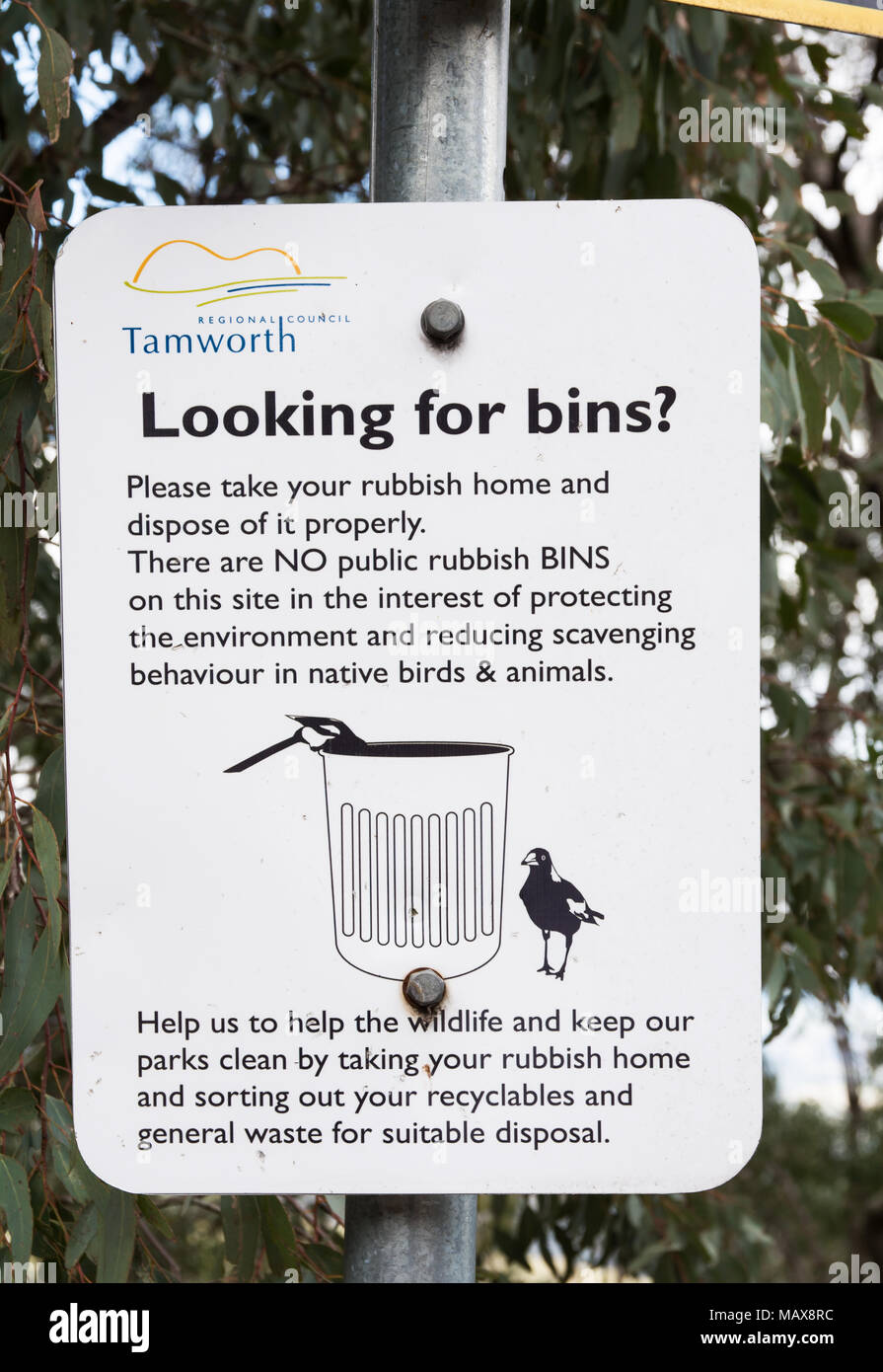 There are no rubbish bins. Sign in a park at Hanging Rock NSW Australia. - Stock Image