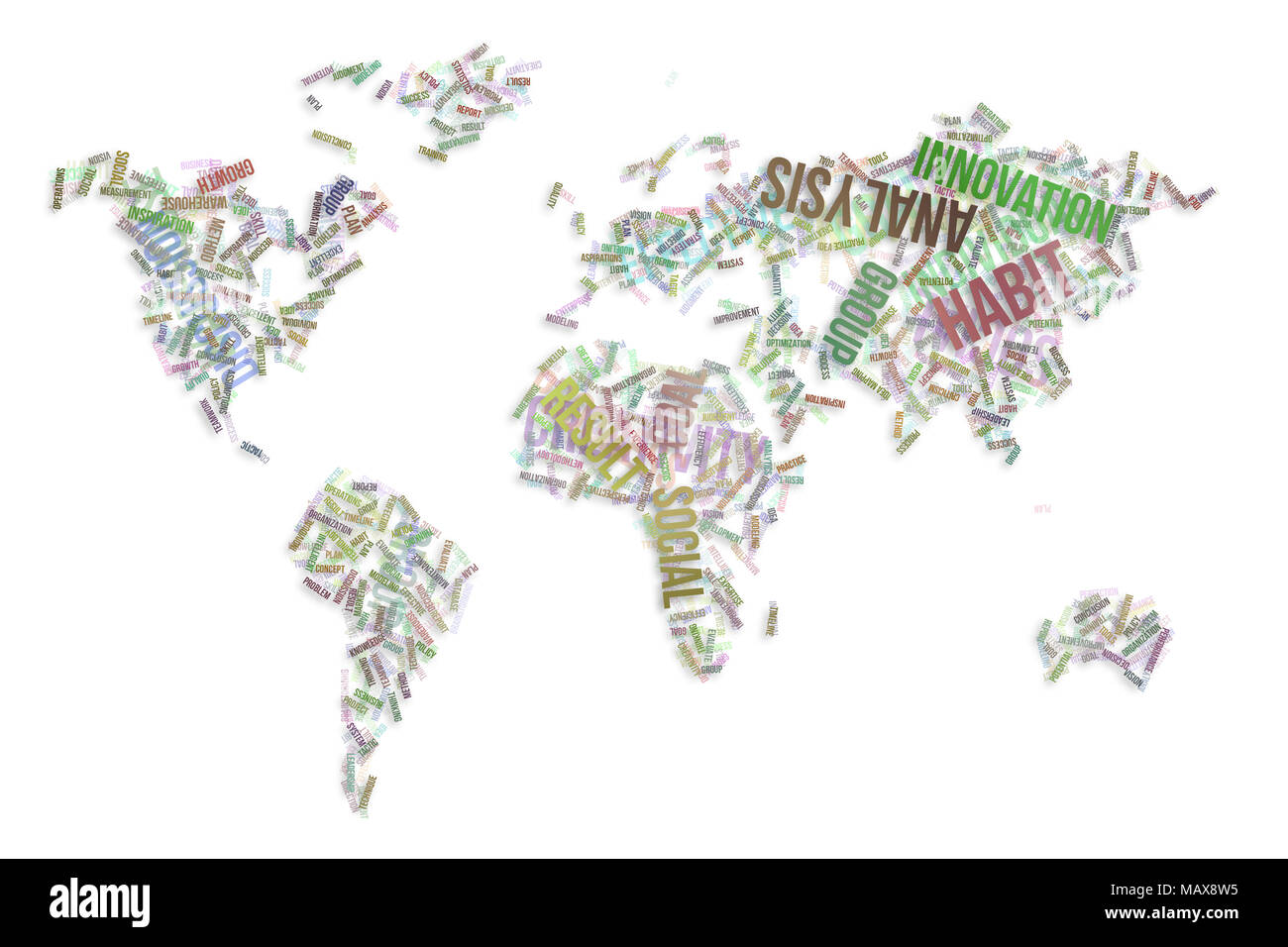 Creative world map abstract background stock photos creative world business word cloud colorful abstract on world map for web page graphic gumiabroncs Choice Image