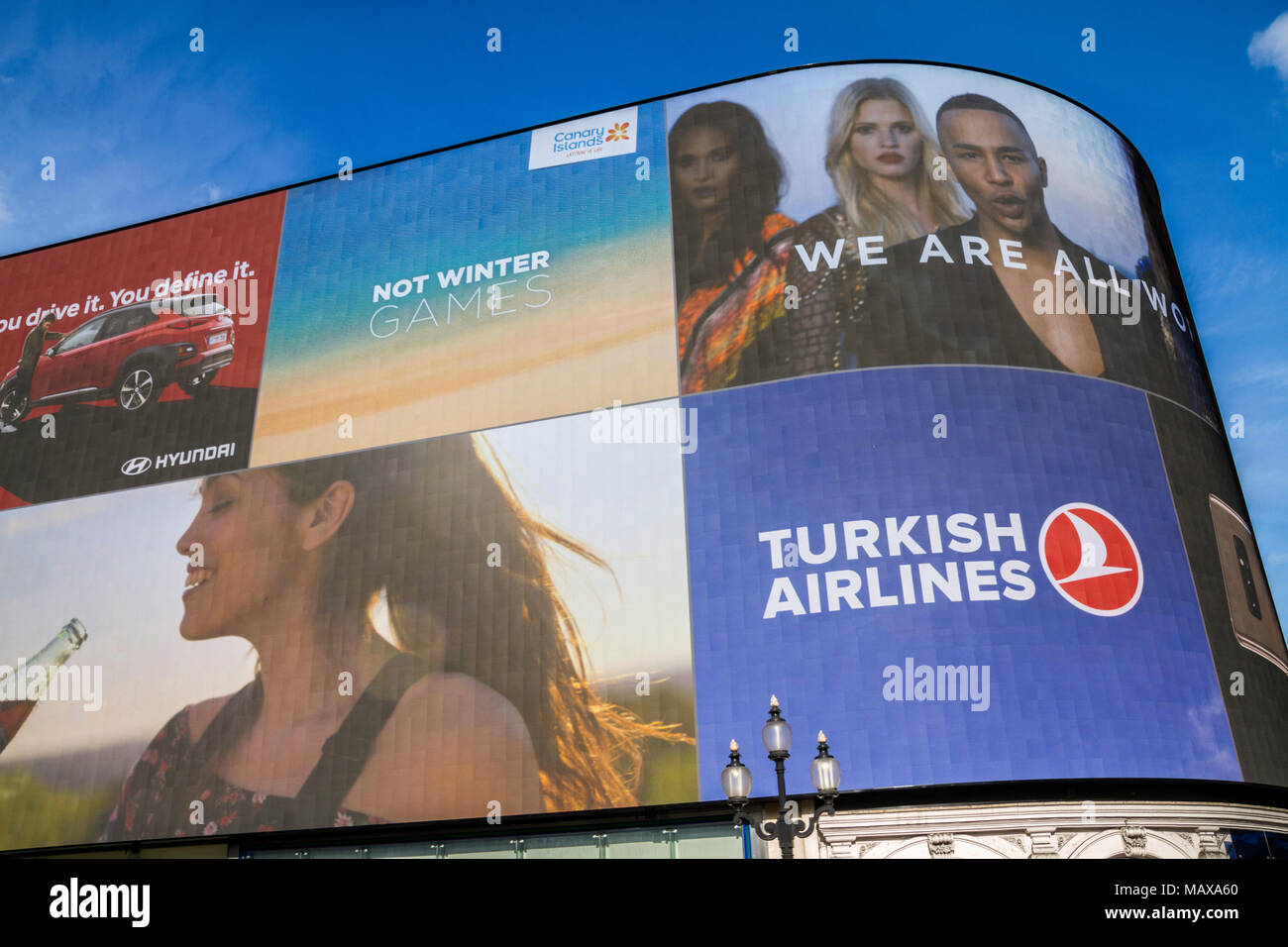 Piccadilly Circus Advertising Board, London UK - Stock Image