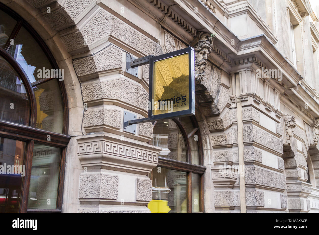 Jamie Olivers Restauant, Jamie's Italian Restaurant Threadneedle Street City Of London UK Stock Photo