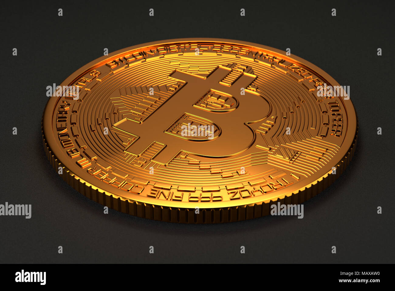 Bitcoin isolated on dark background with slight depth of field blur. Illustrates bitcoin, cryptocurrency, crypto mining, or blockchain coins. - Stock Image
