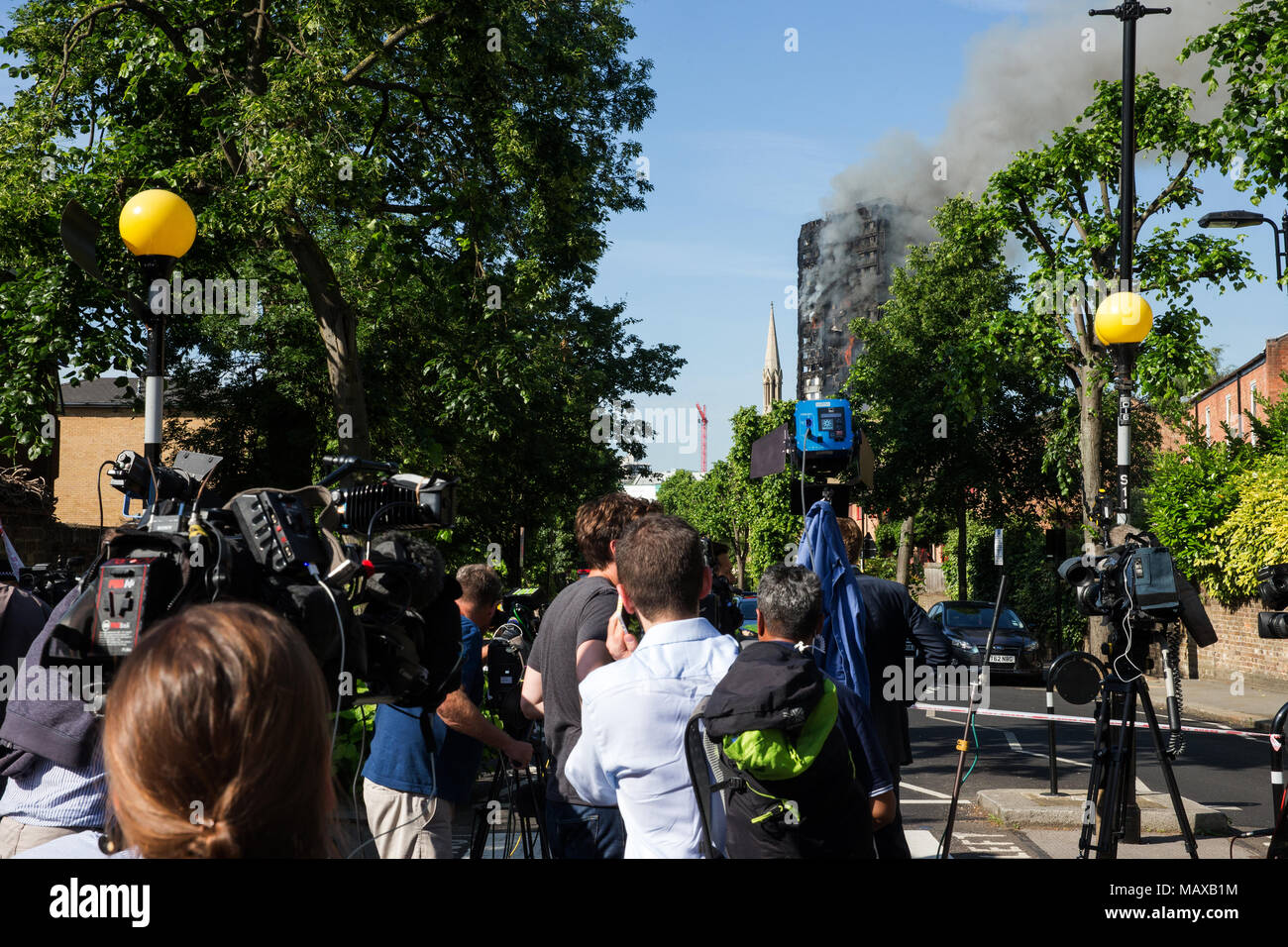 Press crews at the Grenfell Tower fire on 14 June 2017 in North Kensington, Royal Borough of Kensington and Chelsea. Stock Photo