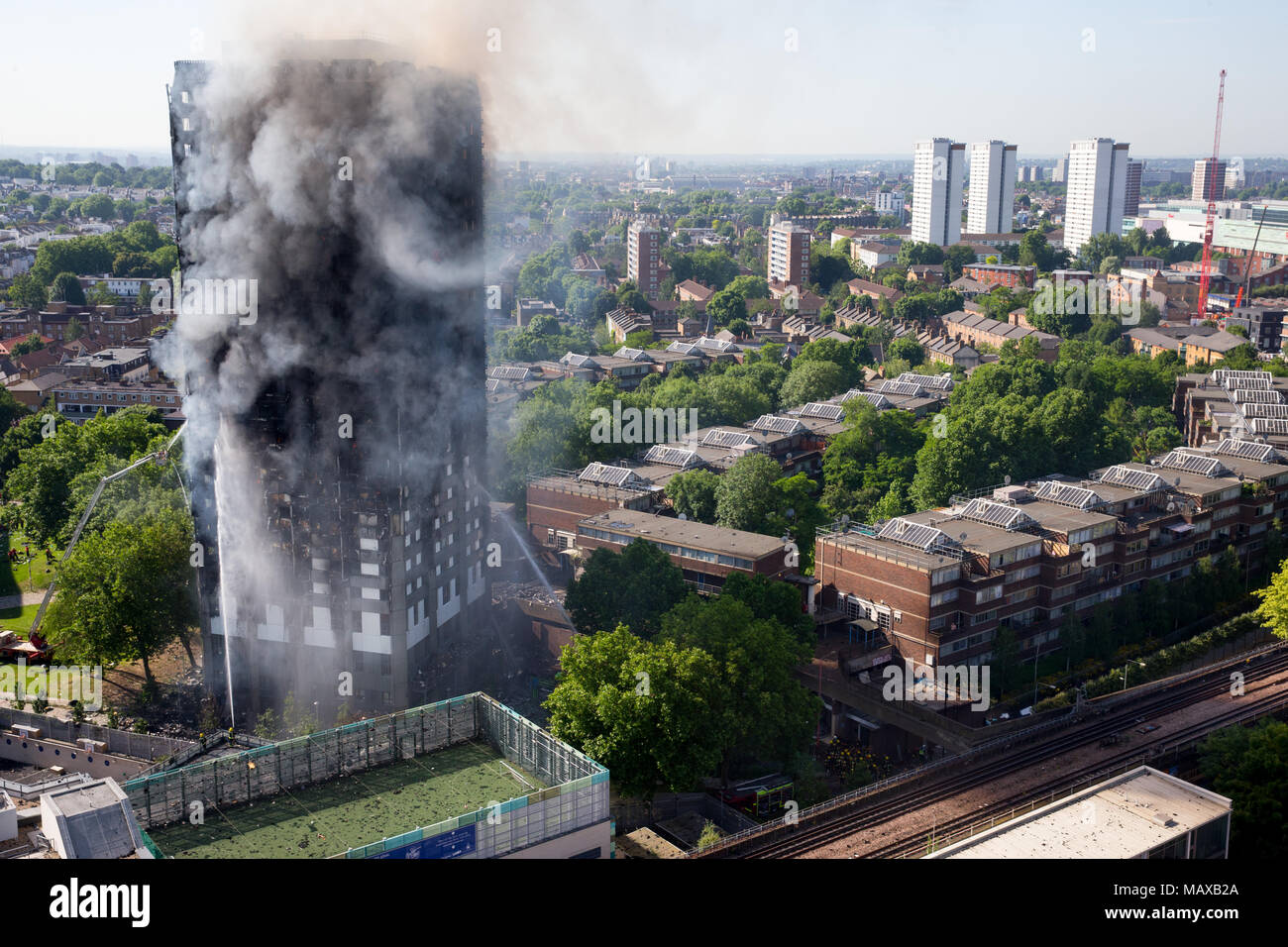 The Grenfell Tower fire on 14 June 2017 in North Kensington, Royal Borough of Kensington and Chelsea. 71 people died and over 70 people were injured. Stock Photo