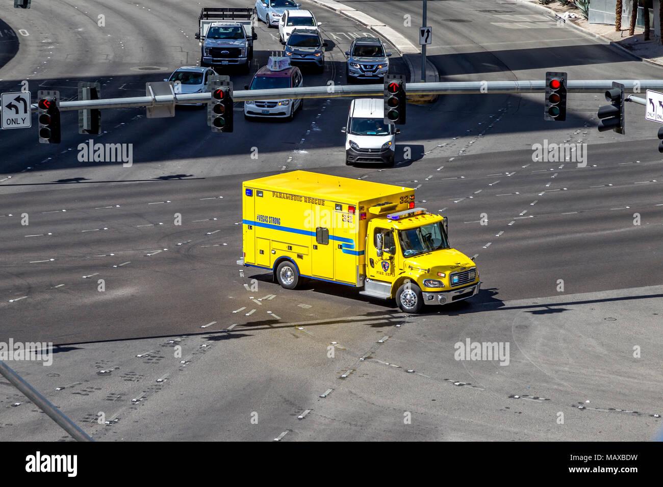 Clark County Fire deparments Paramedic Rescue, Las Vegas, Narvarda, U.S.A. - Stock Image