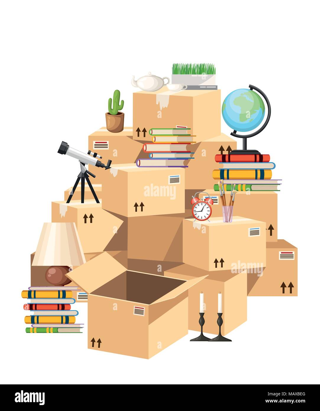 Stack of boxes. Cardboard boxes with objects. Moving house concept. Vector illustration on white background. Web site page and mobile app design. - Stock Vector