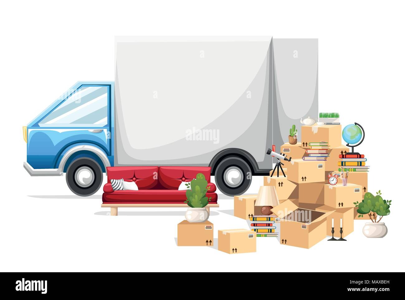 Stack of boxes wiht transport vehicle. Cardboard boxes with objects. Moving house concept. Vector illustration on white background. Web site page and  - Stock Vector