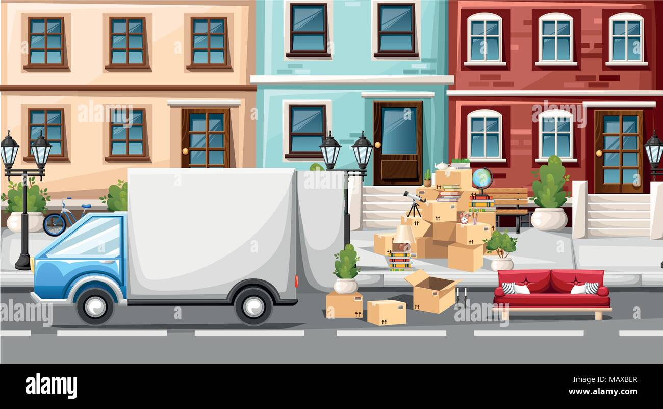 Stack of boxes wiht transport vehicle. Cardboard boxes with objects. Moving house concept. Vector illustration on street background. Web site page and - Stock Vector