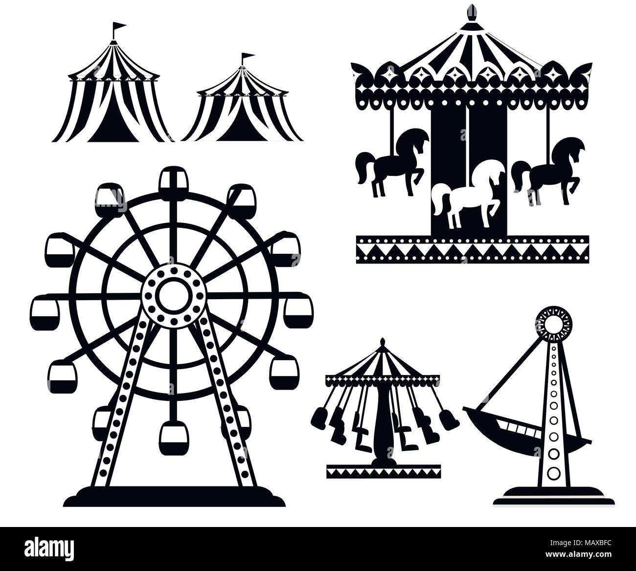Black Silhouette Set Of Carnival Circus Icons Amusement Park Collection Tent Carousel Ferris Wheel Pirate Ship Cartoon Style Design Vector Ill Stock Vector Image Art Alamy
