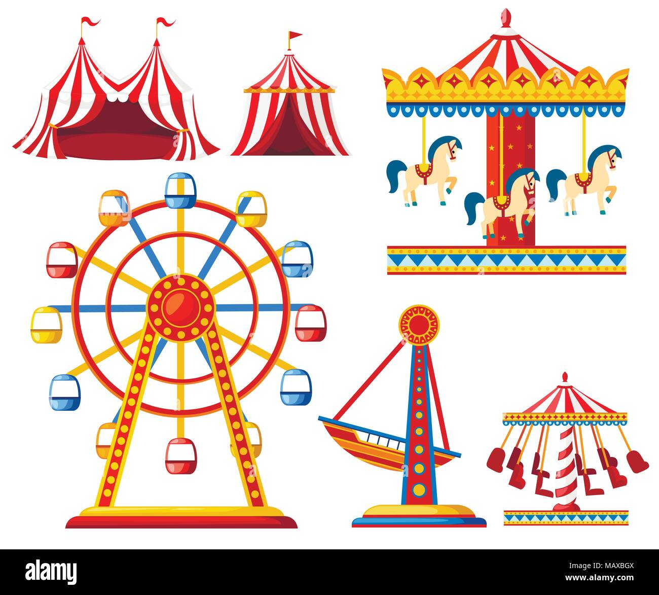 Set Of Carnival Circus Icons Amusement Park Collection Tent Carousel Ferris Wheel Pirate Ship Cartoon Style Design Vector Illustration Isolated Stock Vector Image Art Alamy