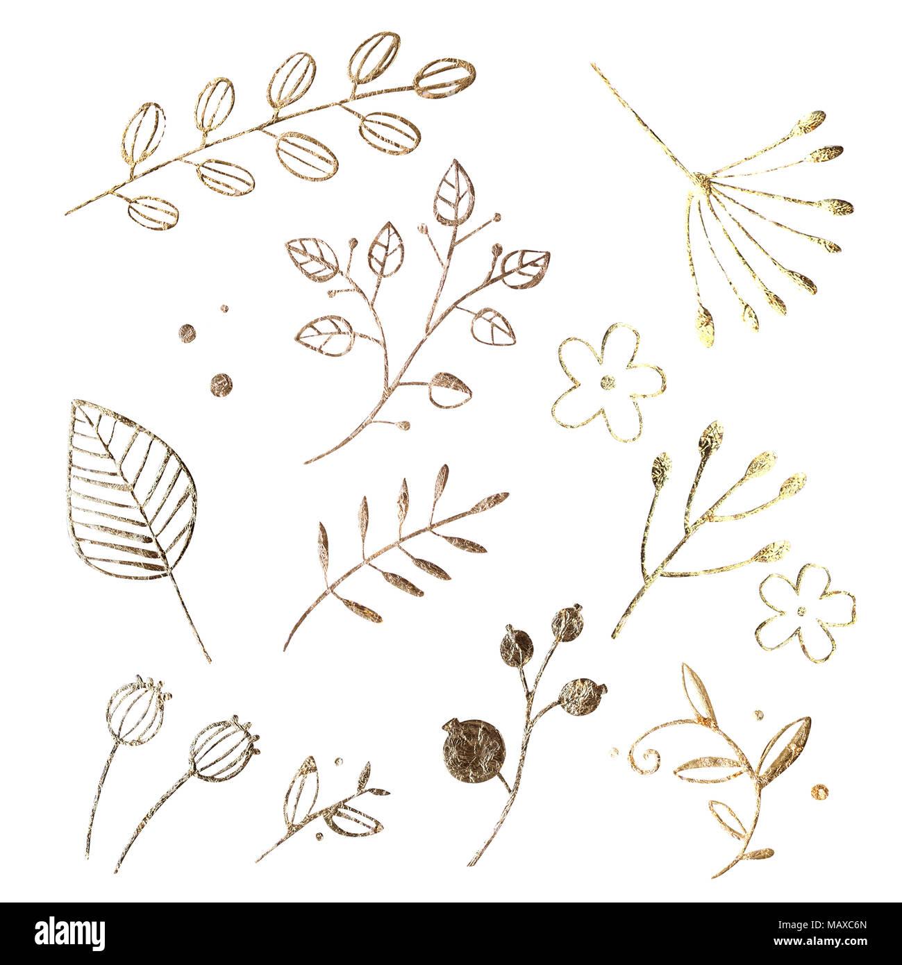 golden leaf design elements decoration elements for invitation