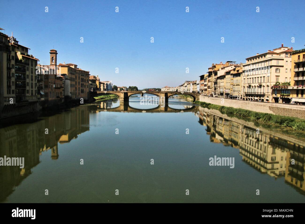 A view of a bridge in Florence - Stock Image