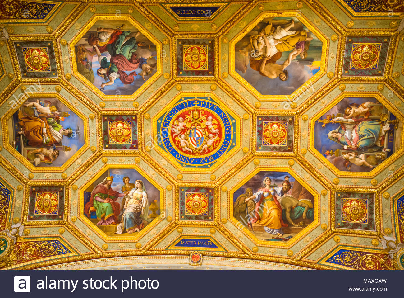The Room of the Immaculate Conception commissioned by Pope Pius IX, Vatican Museums, Rome, Italy. - Stock Image